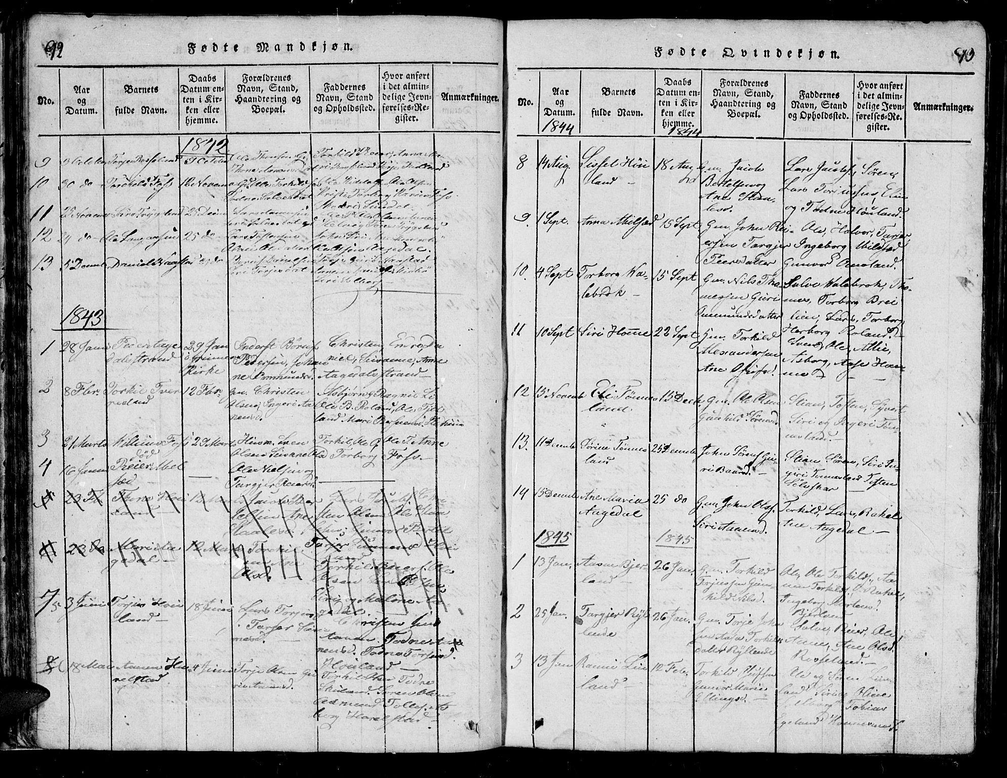 SAK, Bjelland sokneprestkontor, F/Fb/Fba/L0003: Klokkerbok nr. B 3, 1816-1870, s. 92-93