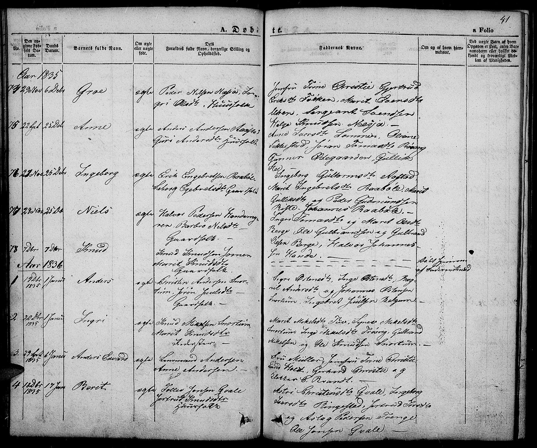 SAH, Slidre prestekontor, Ministerialbok nr. 3, 1831-1843, s. 41