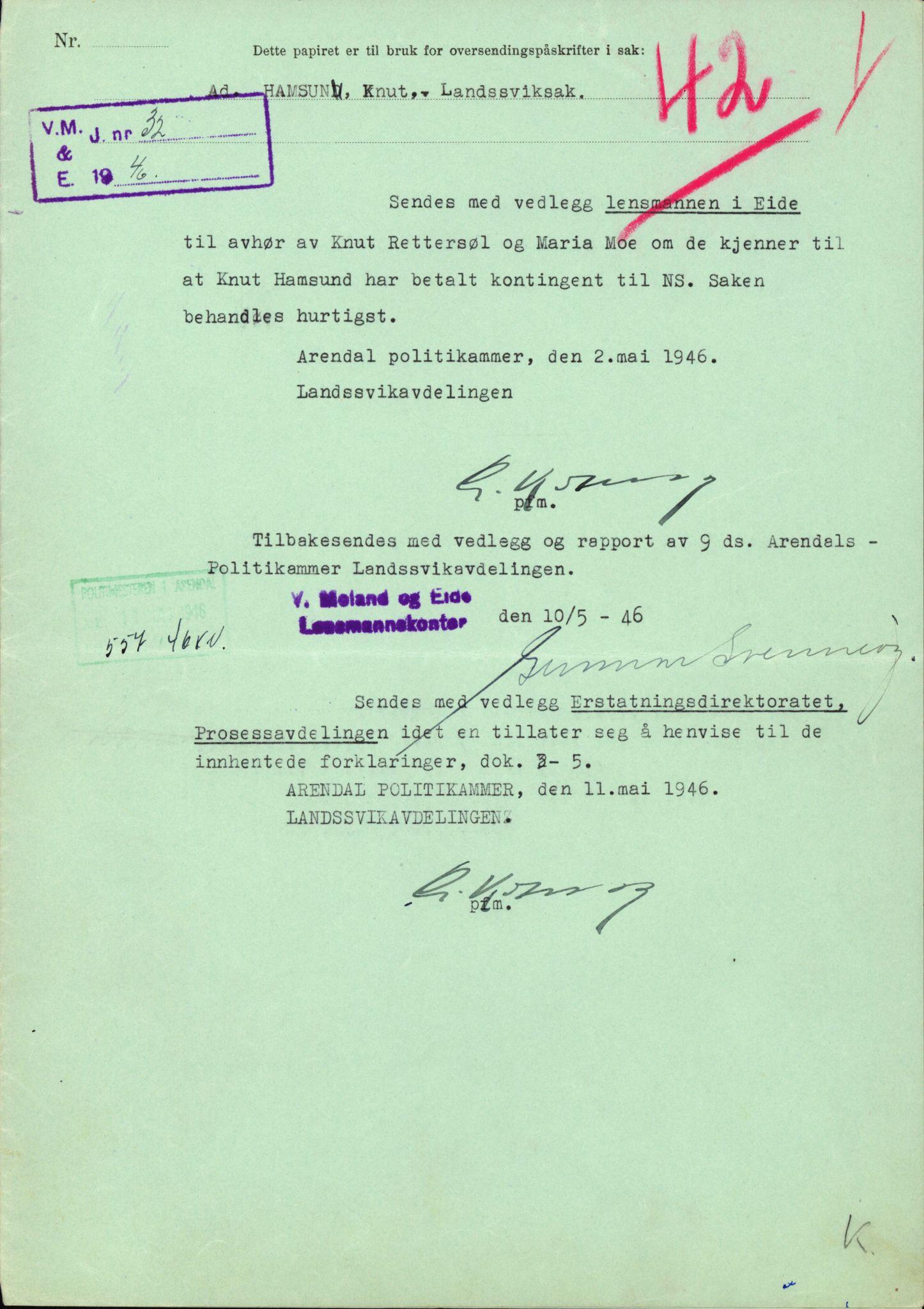RA, Landssvikarkivet, Arendal politikammer, D/Dc/L0029: Anr. 192/45, 1945-1951, s. 393