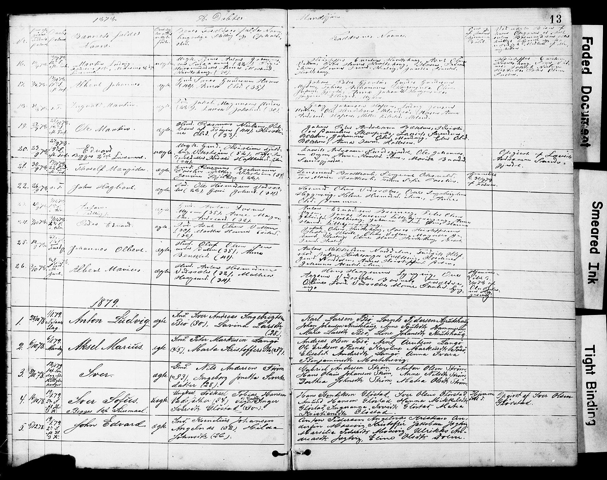SAT, Ministerialprotokoller, klokkerbøker og fødselsregistre - Sør-Trøndelag, 634/L0541: Klokkerbok nr. 634C03, 1874-1891, s. 13