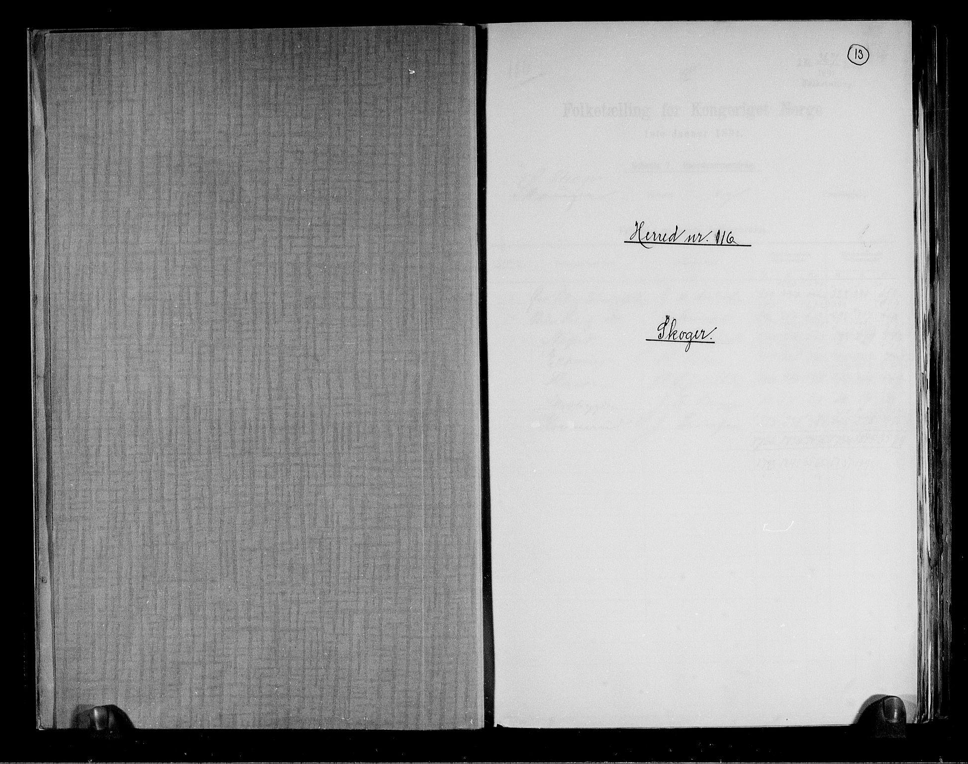 RA, Folketelling 1891 for 0712 Skoger herred, 1891, s. 1