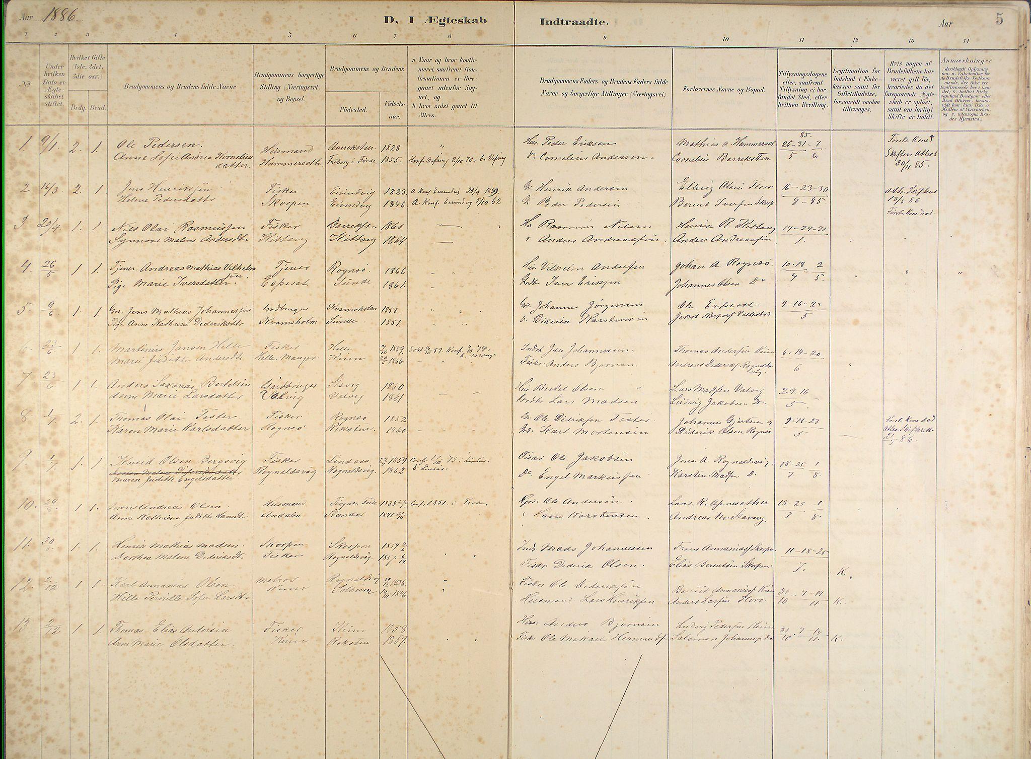 Kinn Sokneprestembete, Ministerialbok nr. B 3, 1886-1936, s. 5