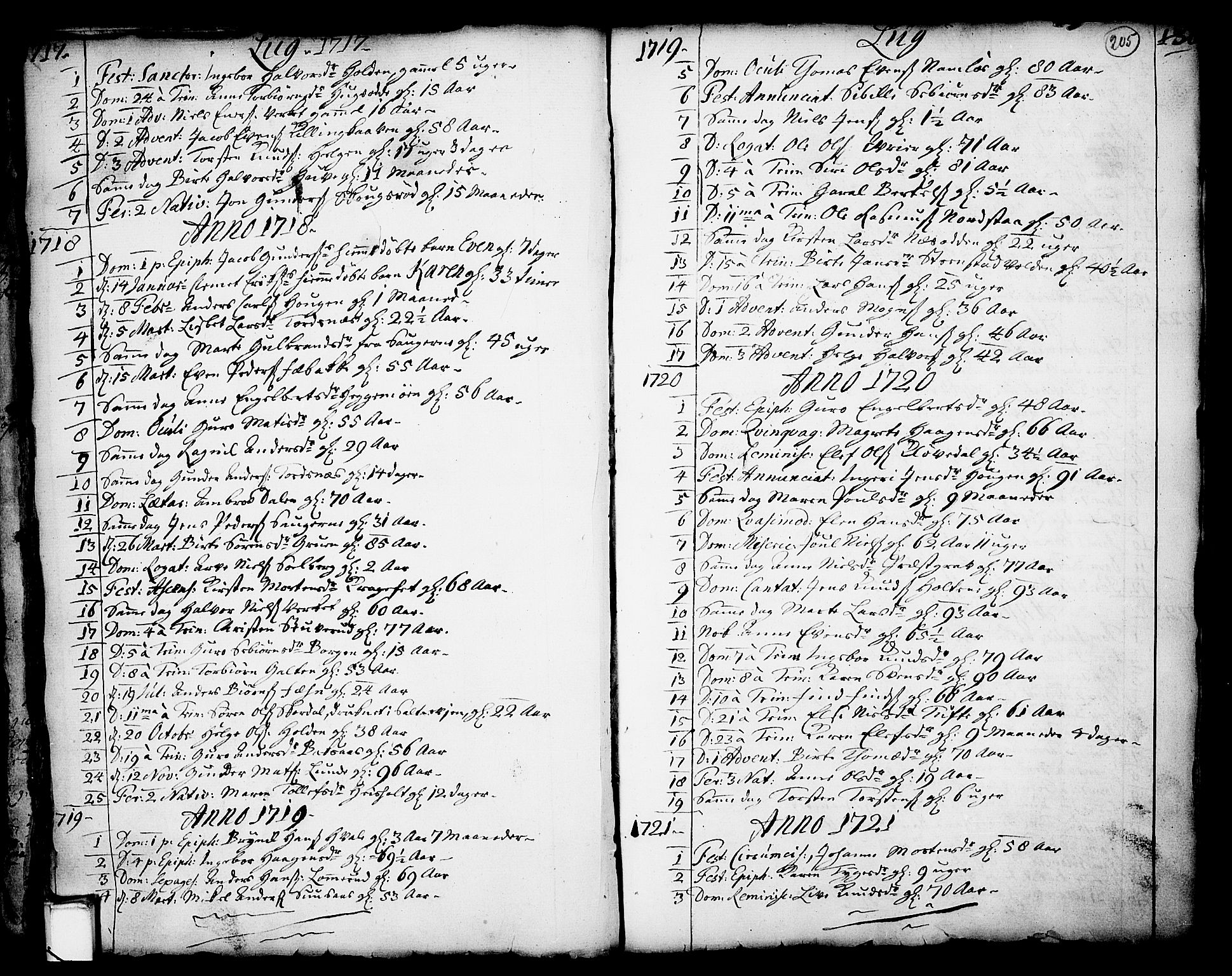 SAKO, Holla kirkebøker, F/Fa/L0001: Ministerialbok nr. 1, 1717-1779, s. 205