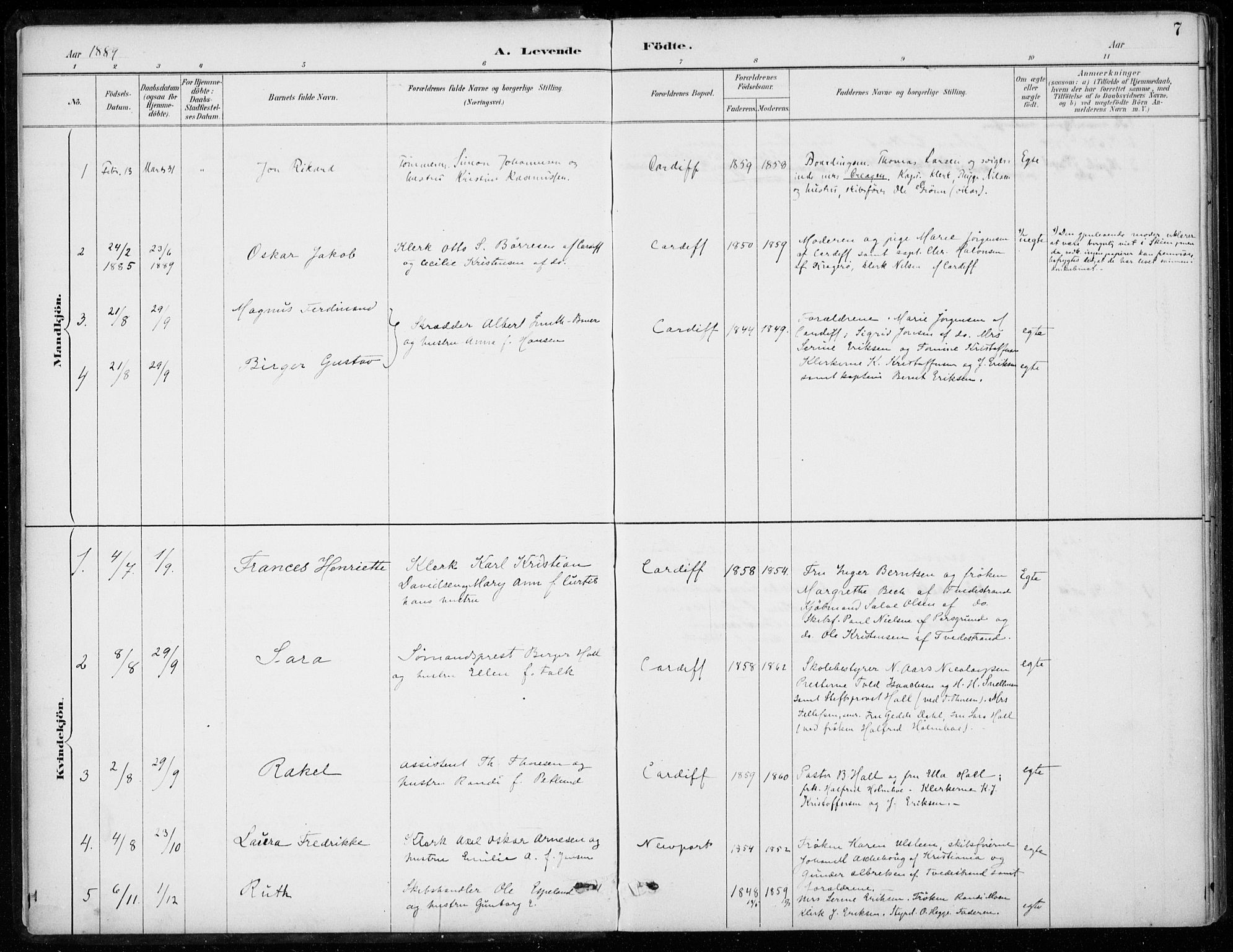 SAB, Den Norske Sjømannsmisjon i utlandet*, Ministerialbok nr. A 2, 1887-1932, s. 7