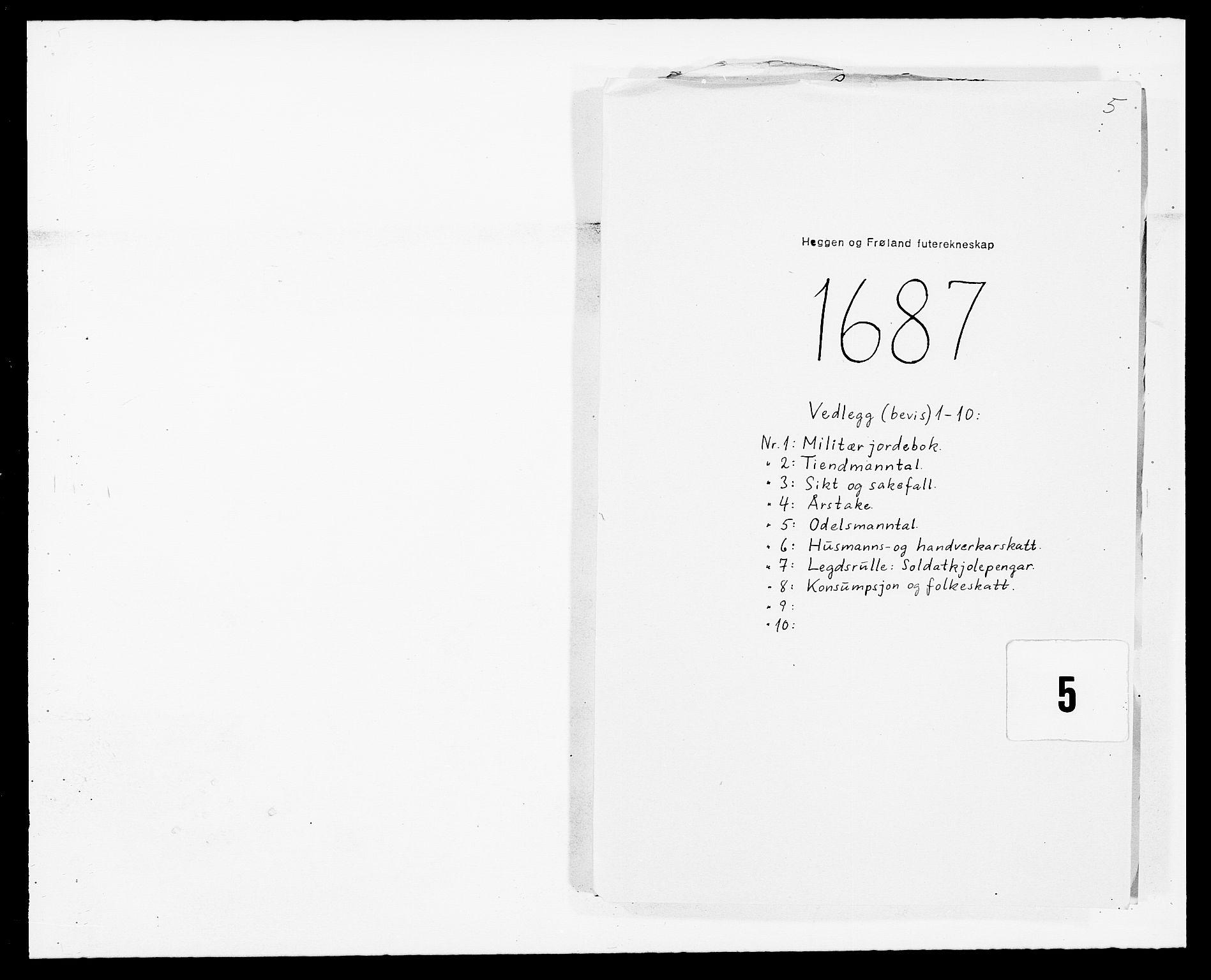 RA, Rentekammeret inntil 1814, Reviderte regnskaper, Fogderegnskap, R06/L0282: Fogderegnskap Heggen og Frøland, 1687-1690, s. 1