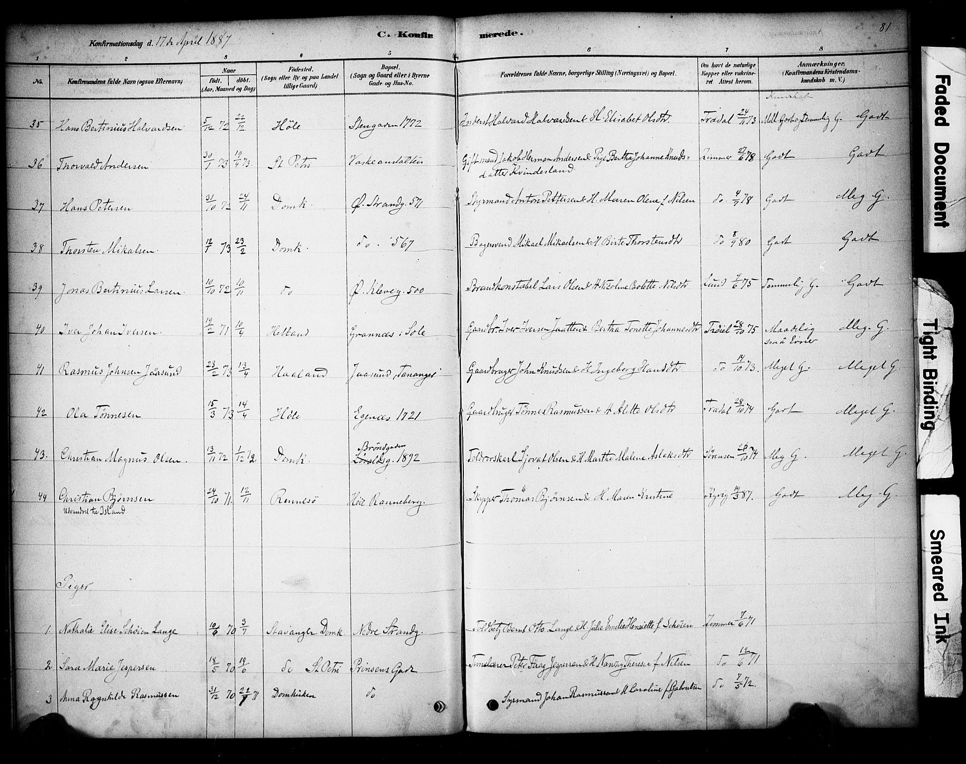 SAST, Domkirken sokneprestkontor, 30/30BA/L0028: Ministerialbok nr. A 27, 1878-1896, s. 81