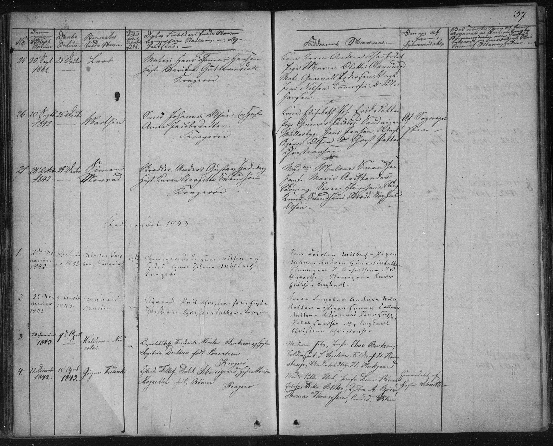 SAKO, Kragerø kirkebøker, F/Fa/L0005: Ministerialbok nr. 5, 1832-1847, s. 37