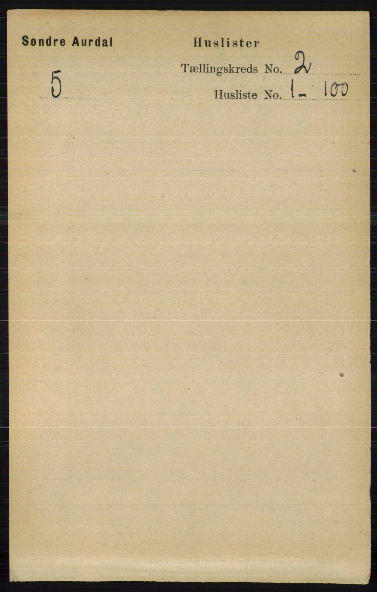RA, Folketelling 1891 for 0540 Sør-Aurdal herred, 1891, s. 729