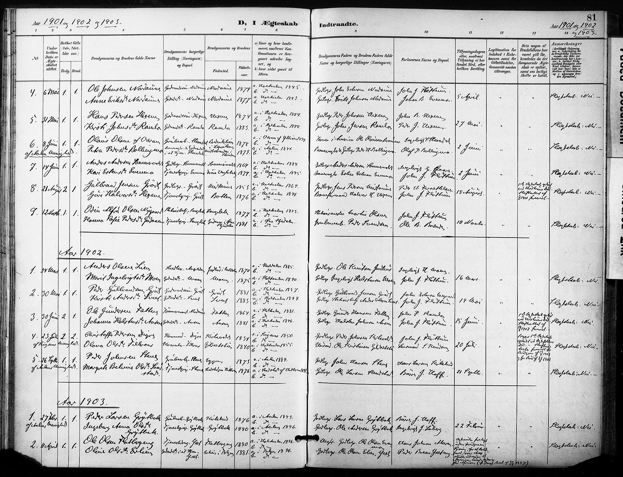 SAT, Ministerialprotokoller, klokkerbøker og fødselsregistre - Sør-Trøndelag, 685/L0973: Ministerialbok nr. 685A10, 1891-1907, s. 81