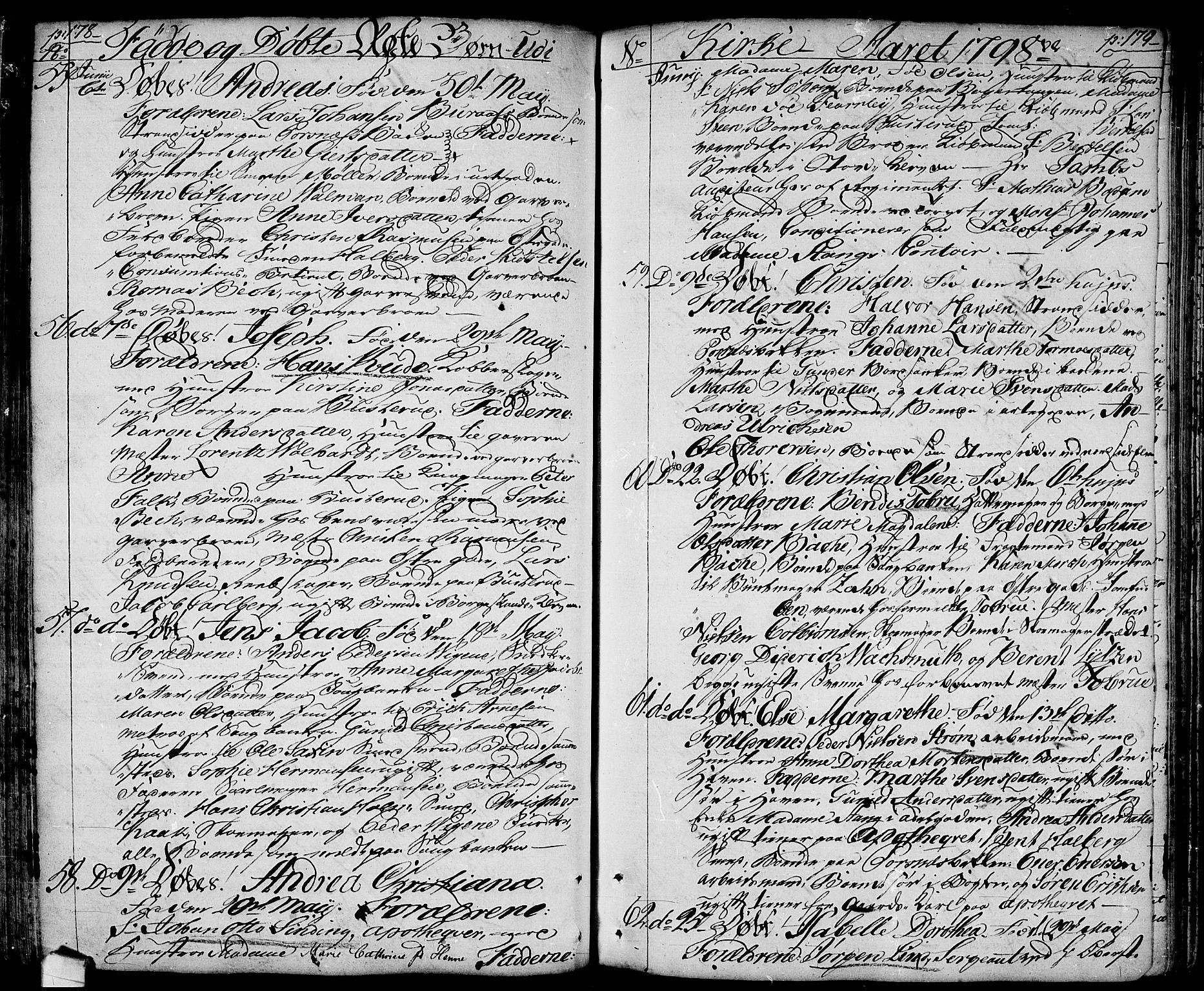 SAO, Halden prestekontor Kirkebøker, F/Fa/L0002: Ministerialbok nr. I 2, 1792-1812, s. 178-179
