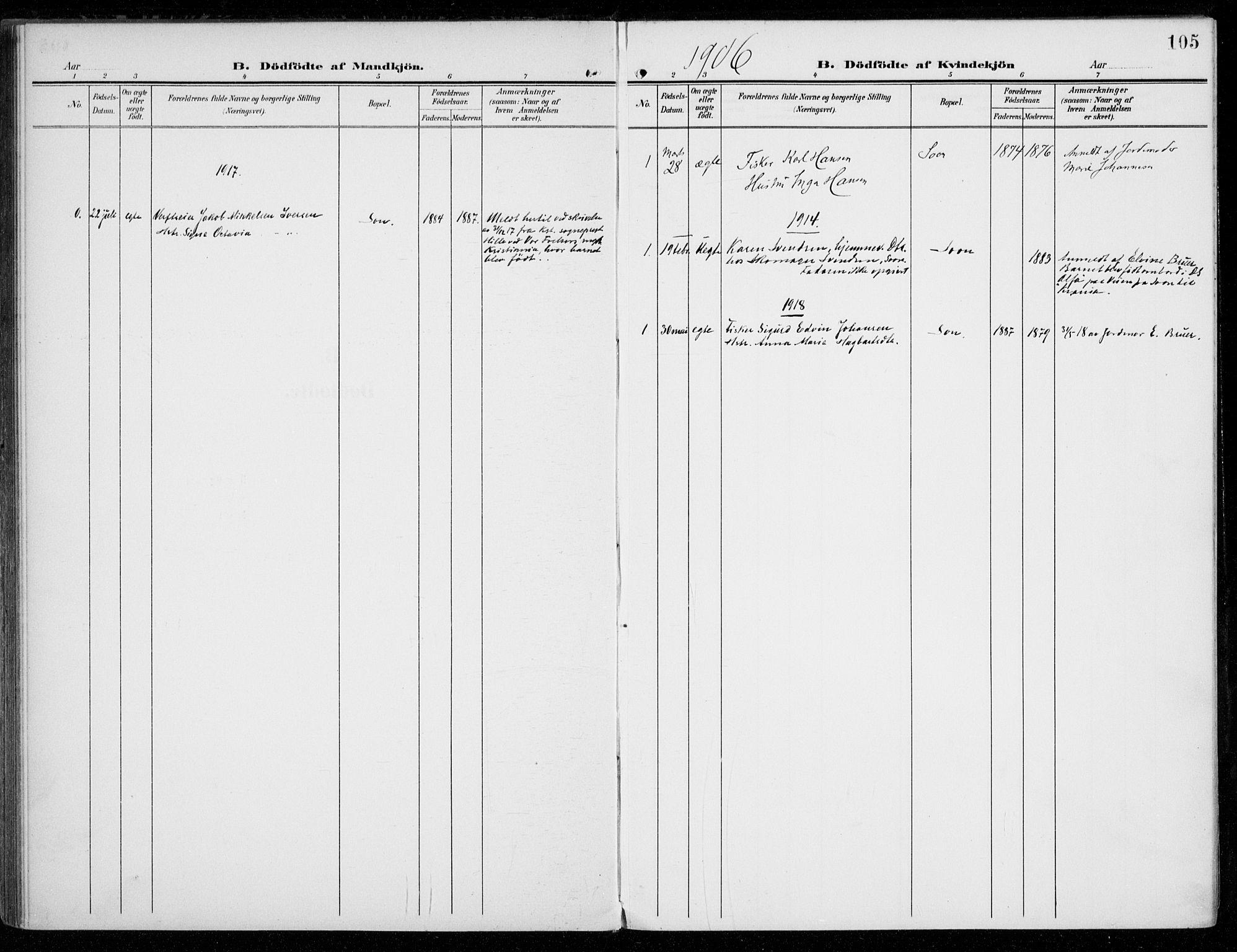 SAO, Vestby prestekontor Kirkebøker, F/Fc/L0002: Ministerialbok nr. III 2, 1906-1940, s. 105