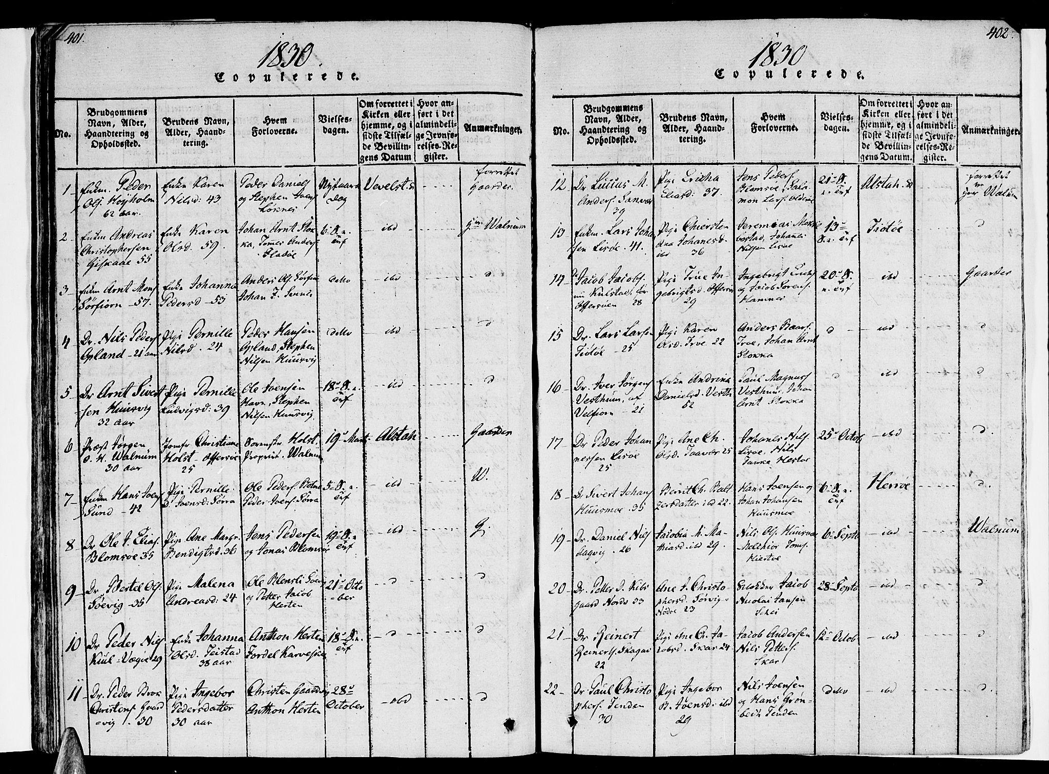 SAT, Ministerialprotokoller, klokkerbøker og fødselsregistre - Nordland, 830/L0445: Ministerialbok nr. 830A09, 1820-1830, s. 401-402