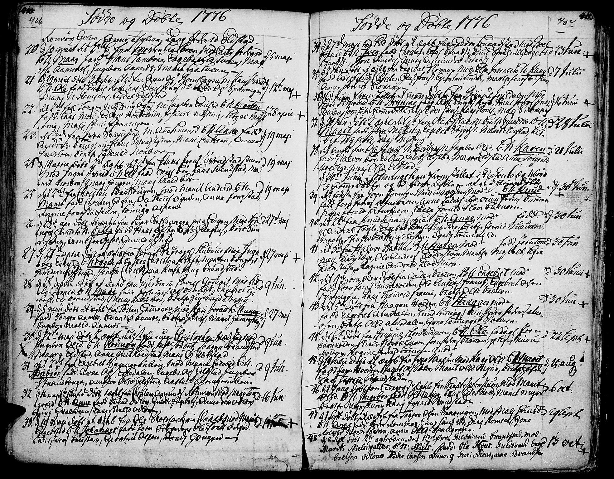 SAH, Ringebu prestekontor, Ministerialbok nr. 2, 1734-1780, s. 406-407