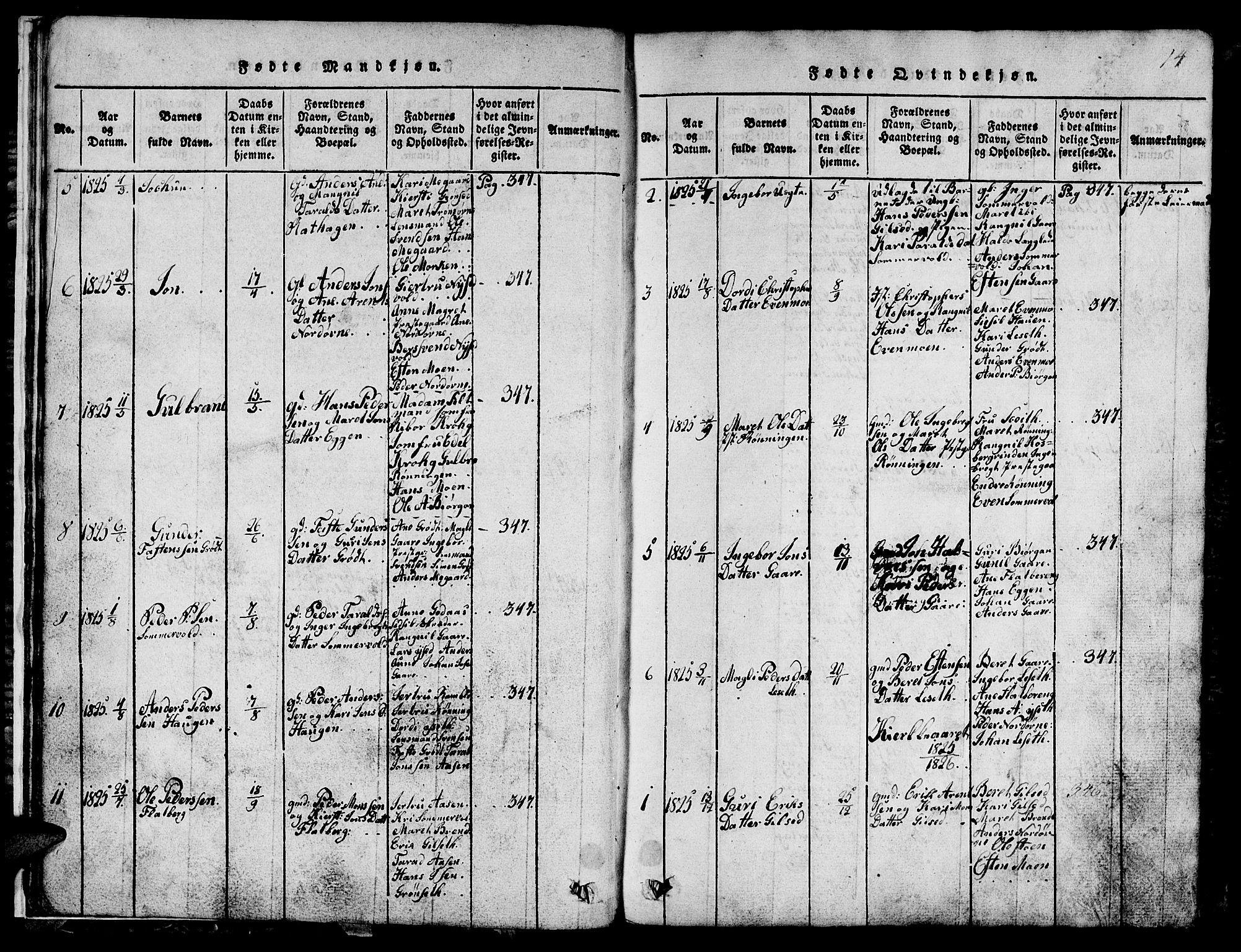 SAT, Ministerialprotokoller, klokkerbøker og fødselsregistre - Sør-Trøndelag, 685/L0976: Klokkerbok nr. 685C01, 1817-1878, s. 14