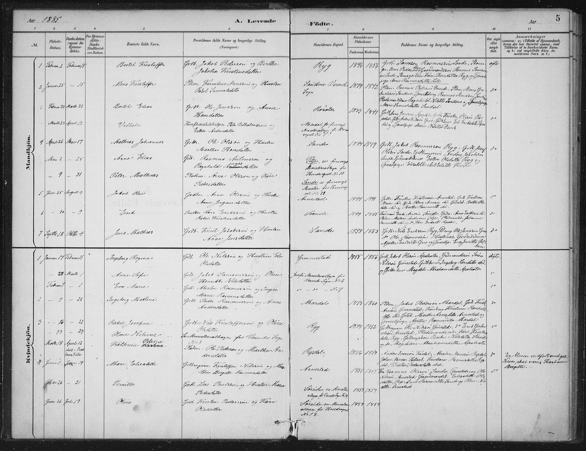 SAB, Gloppen sokneprestembete, H/Haa/Haad/L0001: Ministerialbok nr. D  1, 1885-1910, s. 5