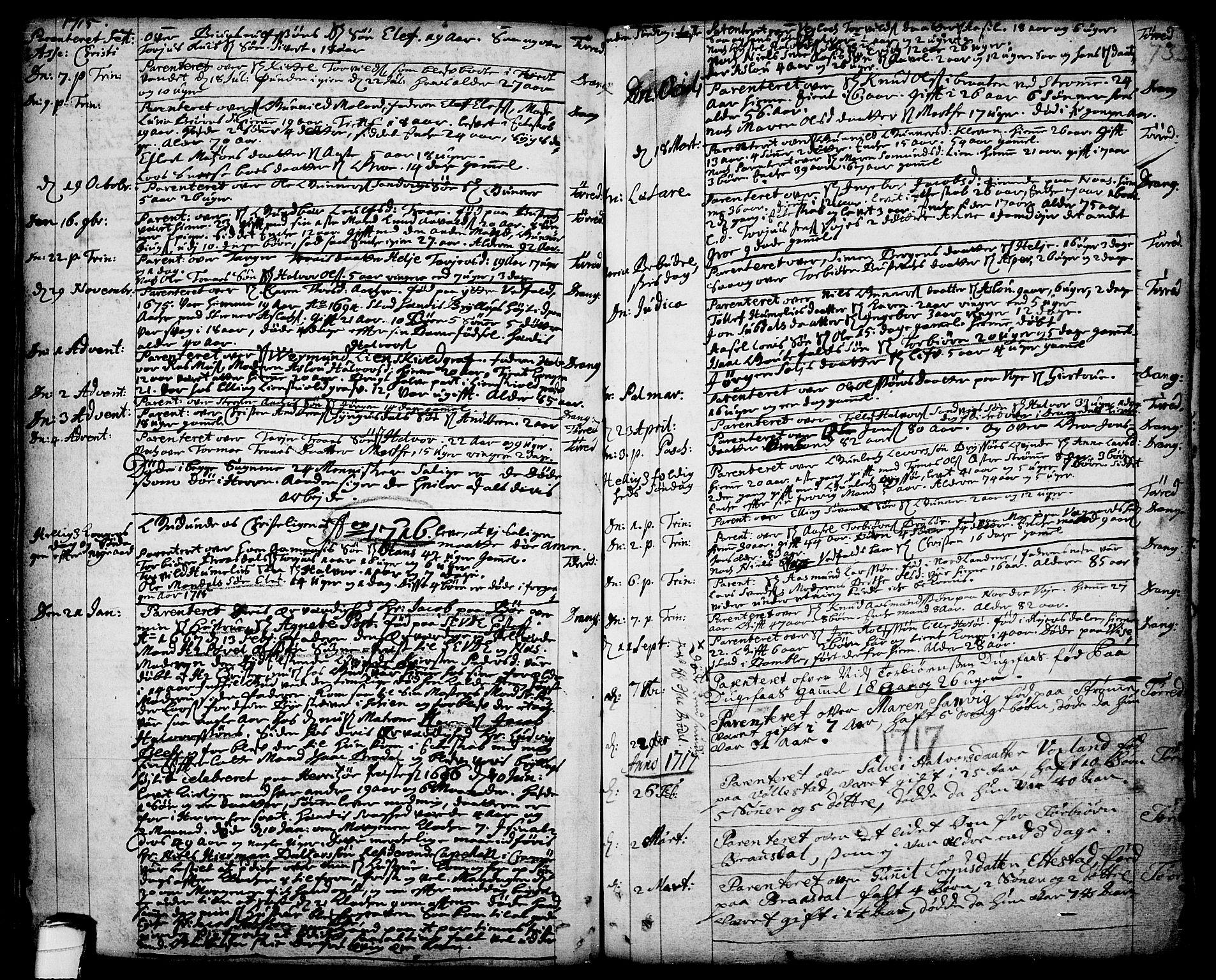 SAKO, Drangedal kirkebøker, F/Fa/L0001: Ministerialbok nr. 1, 1697-1767, s. 73