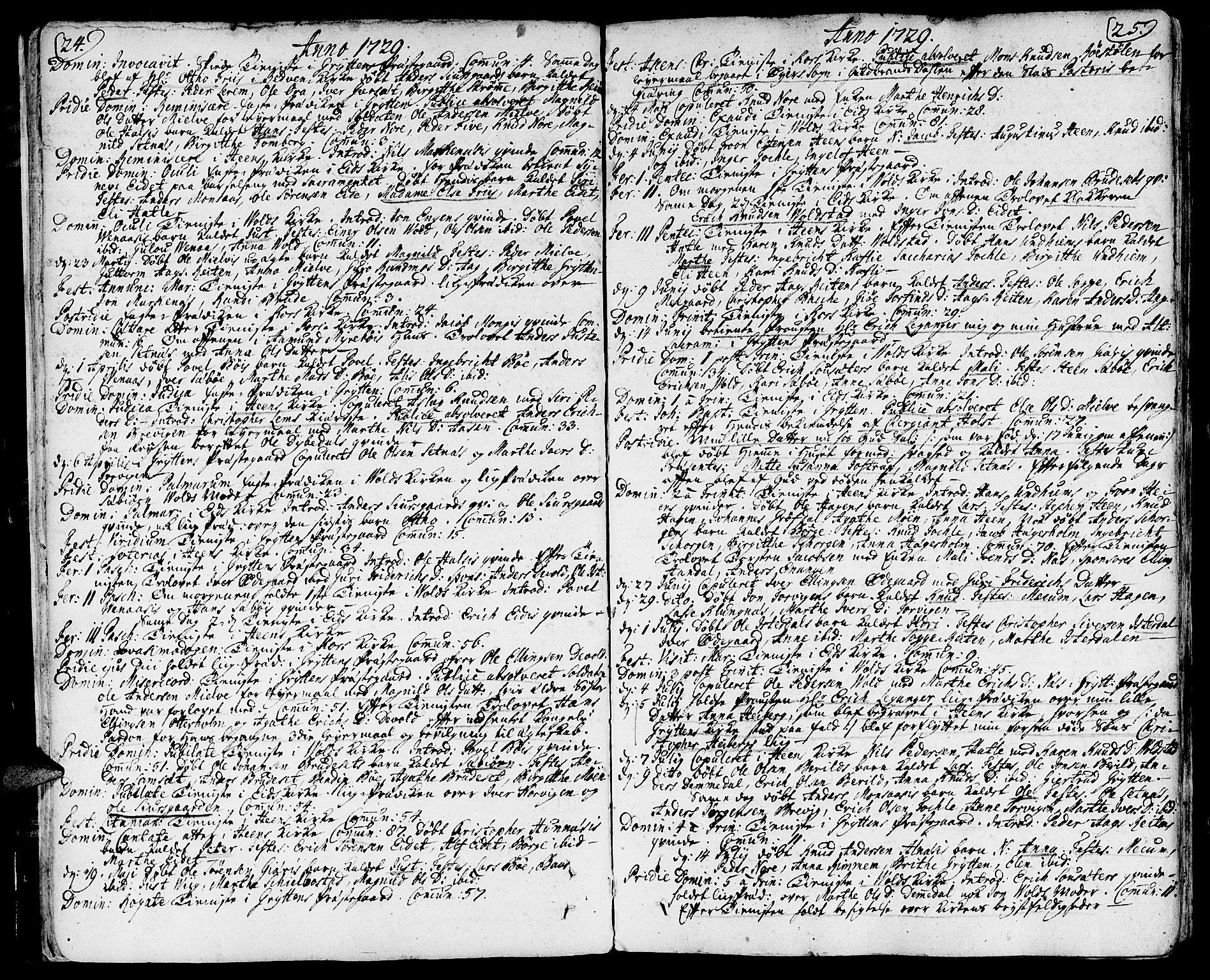 SAT, Ministerialprotokoller, klokkerbøker og fødselsregistre - Møre og Romsdal, 544/L0568: Ministerialbok nr. 544A01, 1725-1763, s. 24-25