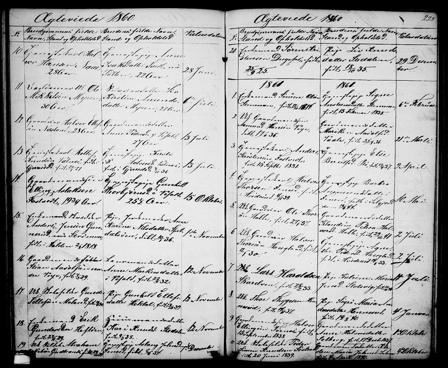 SAKO, Drangedal kirkebøker, G/Ga/L0002: Klokkerbok nr. I 2, 1856-1887, s. 225