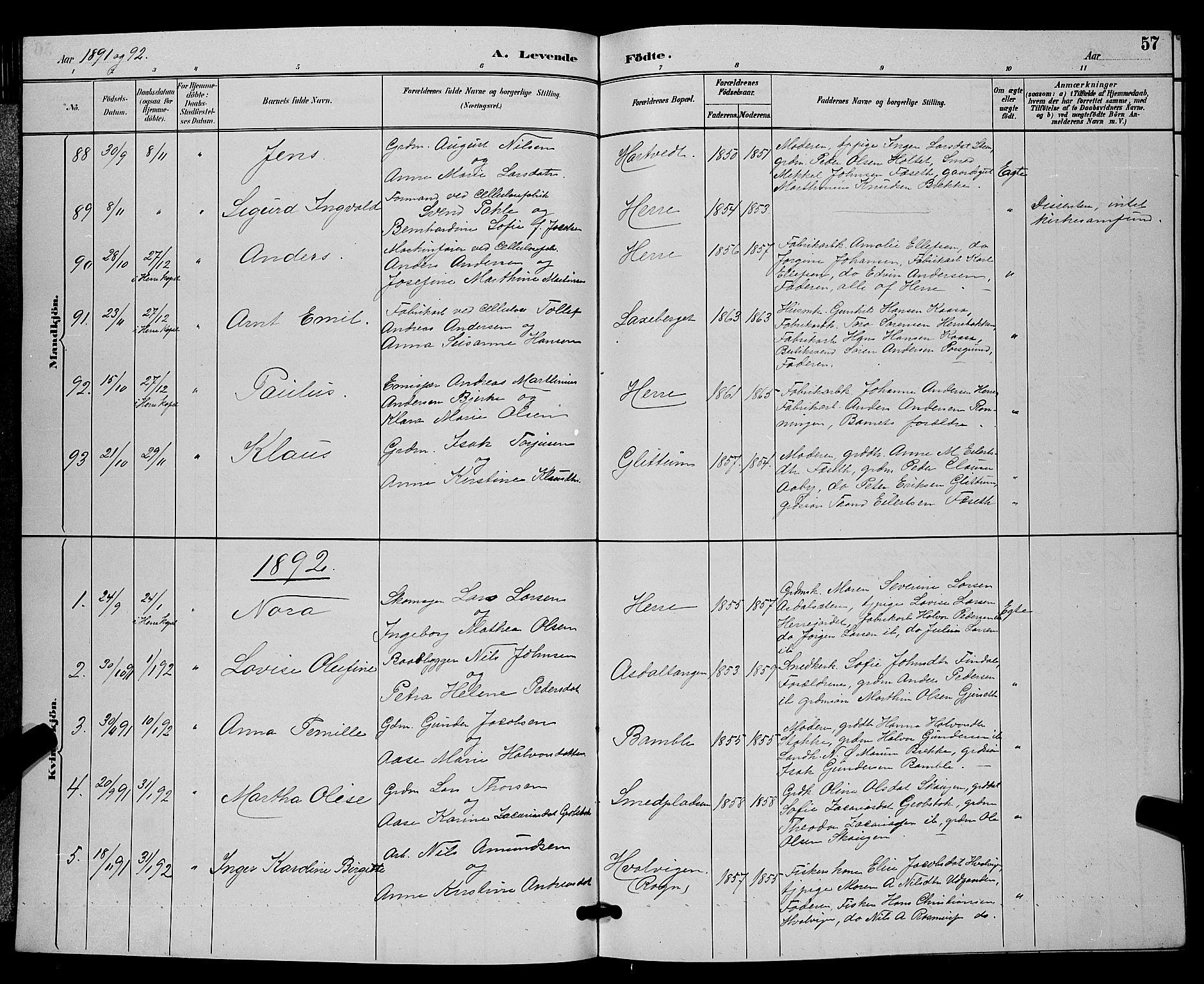 SAKO, Bamble kirkebøker, G/Ga/L0009: Klokkerbok nr. I 9, 1888-1900, s. 57