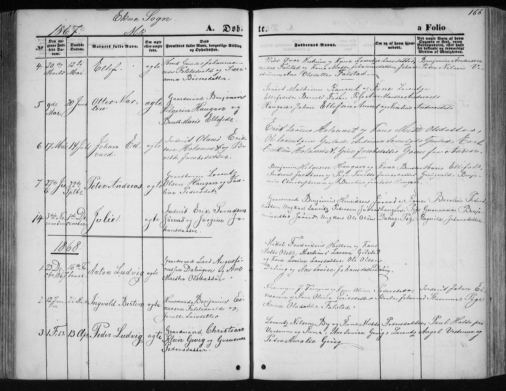 SAT, Ministerialprotokoller, klokkerbøker og fødselsregistre - Nord-Trøndelag, 717/L0158: Ministerialbok nr. 717A08 /2, 1863-1877, s. 166