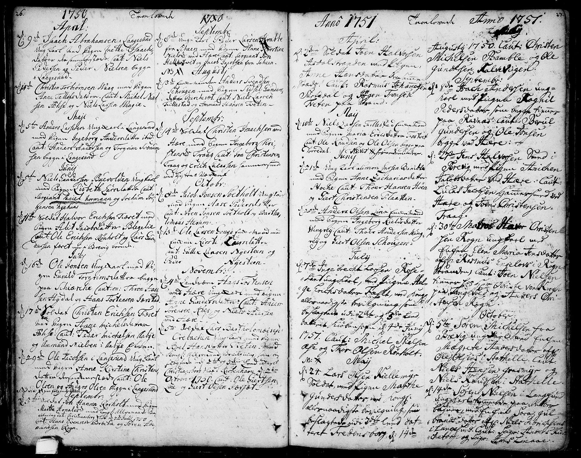 SAKO, Bamble kirkebøker, F/Fa/L0001: Ministerialbok nr. I 1, 1702-1774, s. 26-27