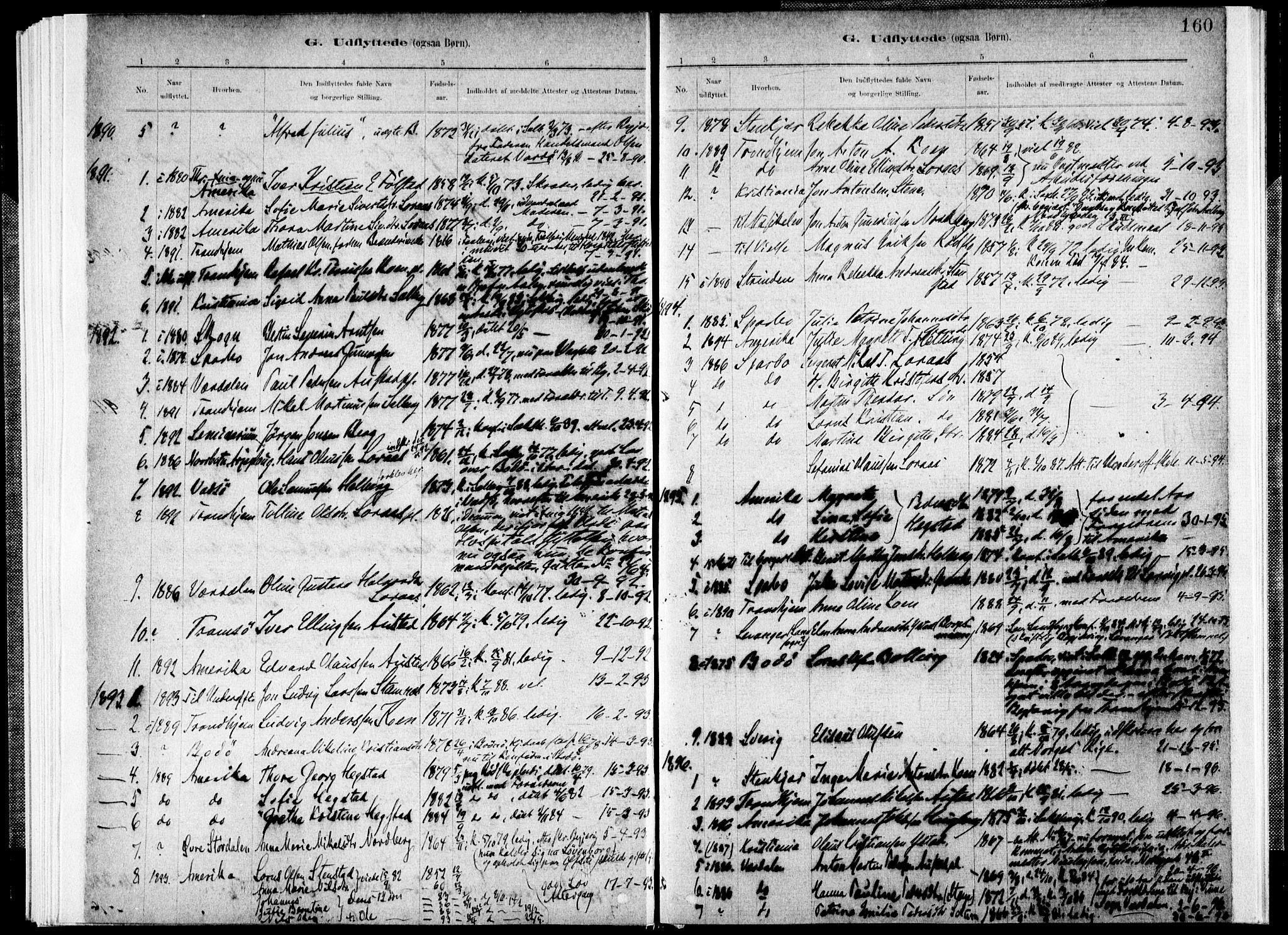 SAT, Ministerialprotokoller, klokkerbøker og fødselsregistre - Nord-Trøndelag, 731/L0309: Ministerialbok nr. 731A01, 1879-1918, s. 160