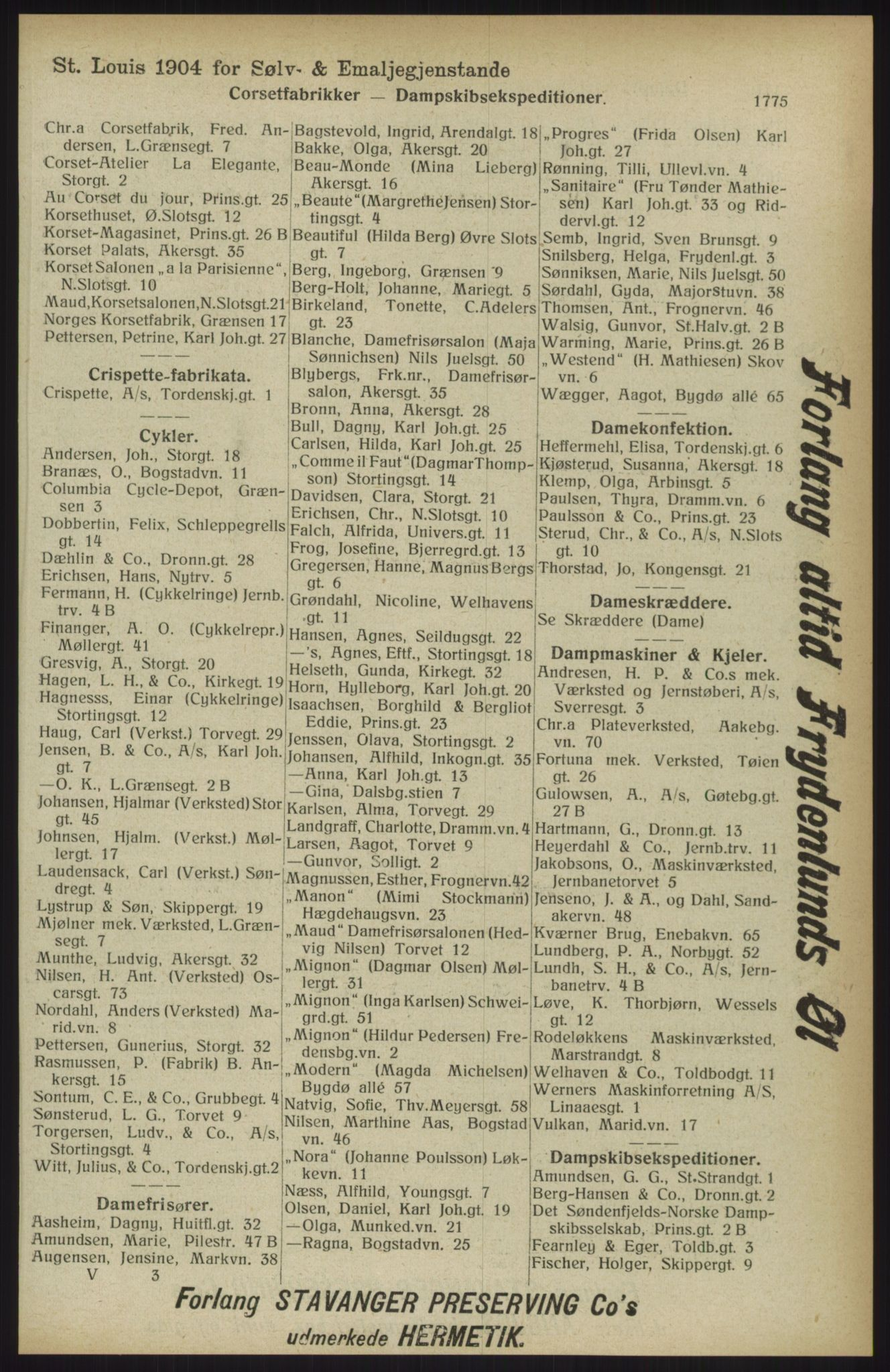 RA, Kristiania adressebok (publikasjon)*, 1914, s. 1775