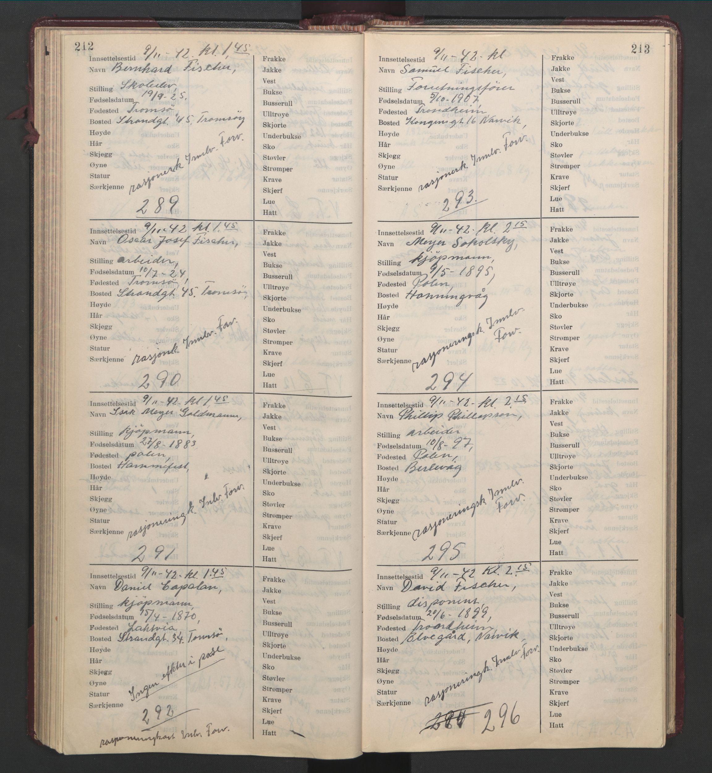 RA, Statspolitiet - Hovedkontoret / Osloavdelingen, C/Cl/L0014: Mottagelsesprotokoll, 1941-1944, s. 212-213