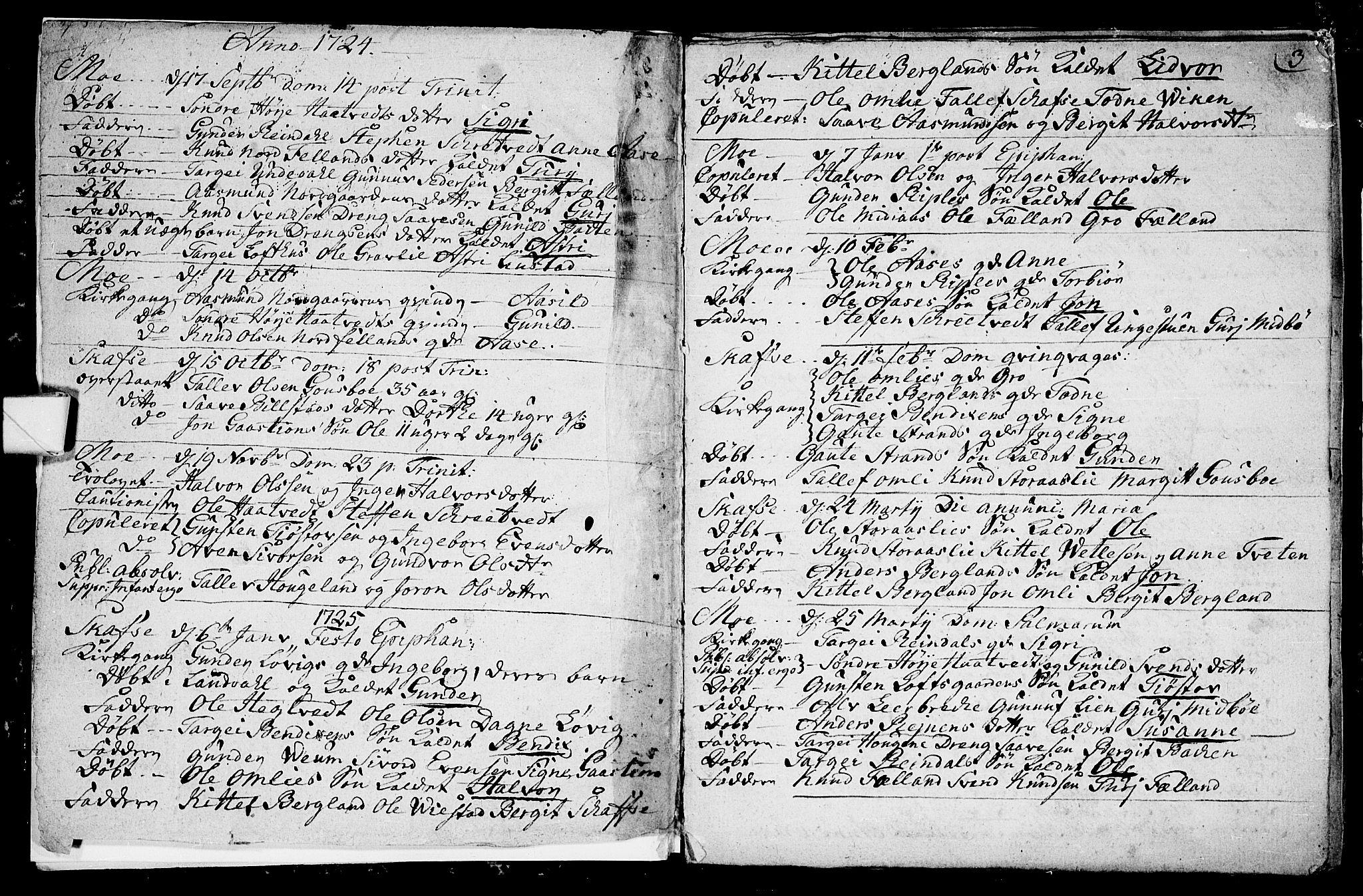 SAKO, Mo kirkebøker, F/Fa/L0001: Ministerialbok nr. I 1, 1724-1748, s. 3