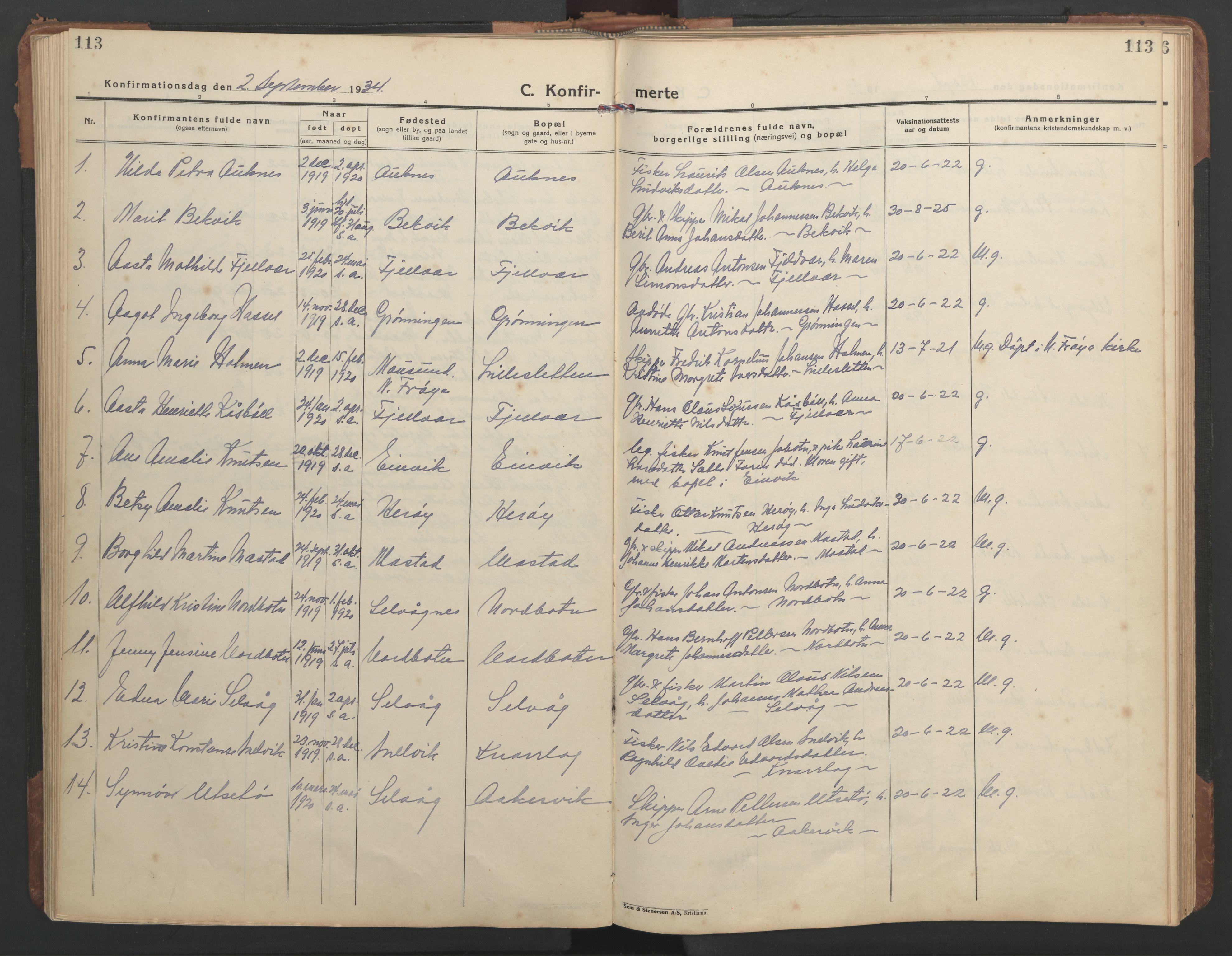 SAT, Ministerialprotokoller, klokkerbøker og fødselsregistre - Sør-Trøndelag, 638/L0569: Klokkerbok nr. 638C01, 1923-1961, s. 113