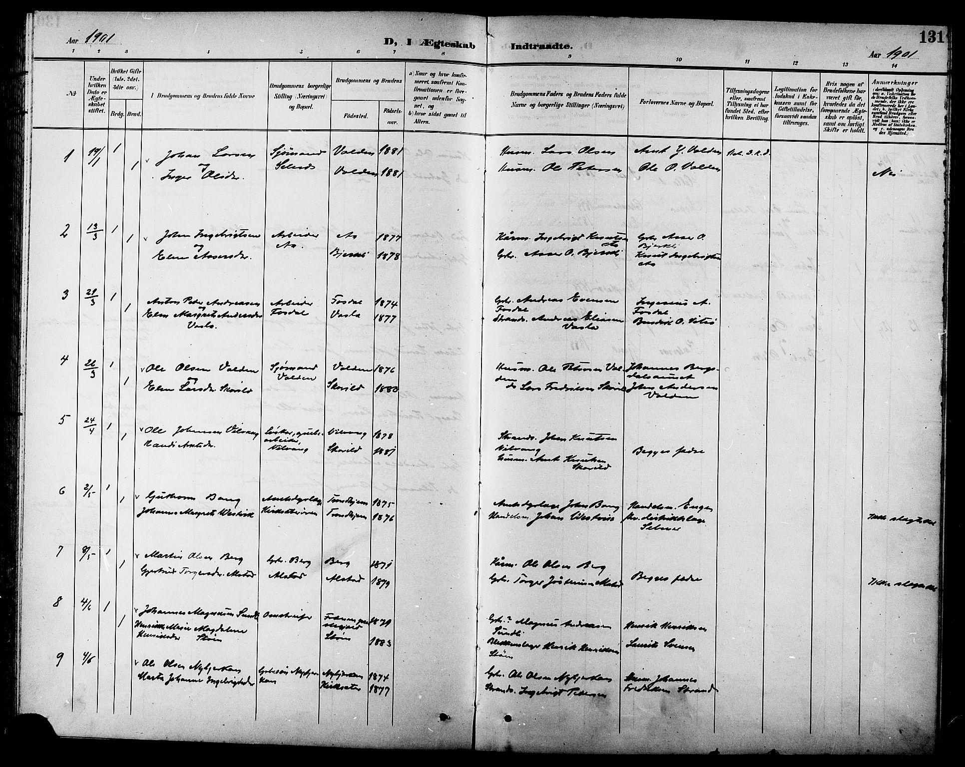 SAT, Ministerialprotokoller, klokkerbøker og fødselsregistre - Sør-Trøndelag, 630/L0505: Klokkerbok nr. 630C03, 1899-1914, s. 131