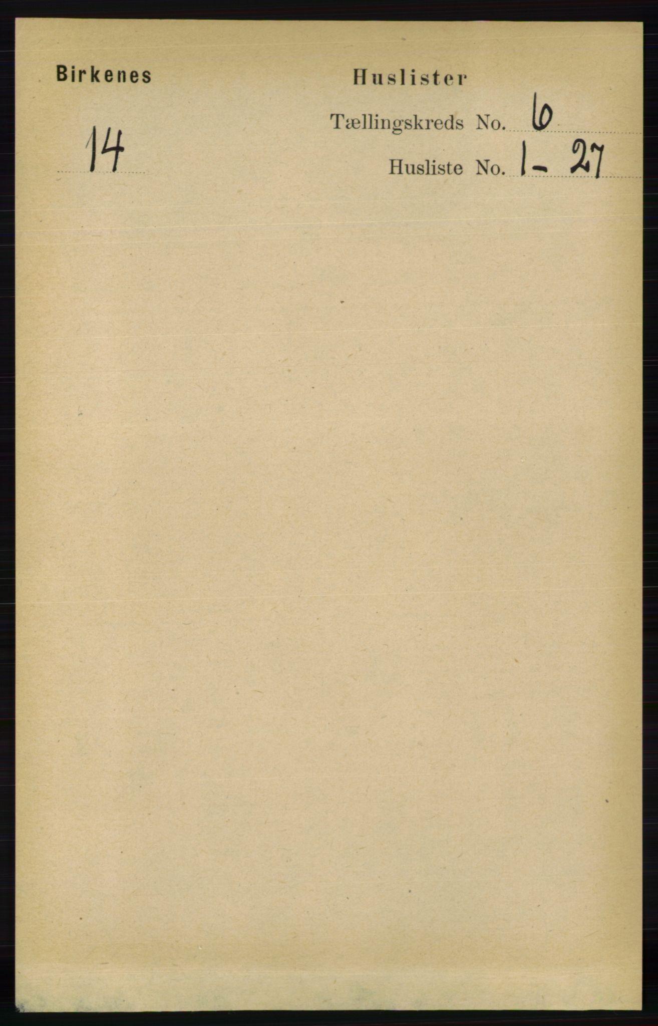 RA, Folketelling 1891 for 0928 Birkenes herred, 1891, s. 1764