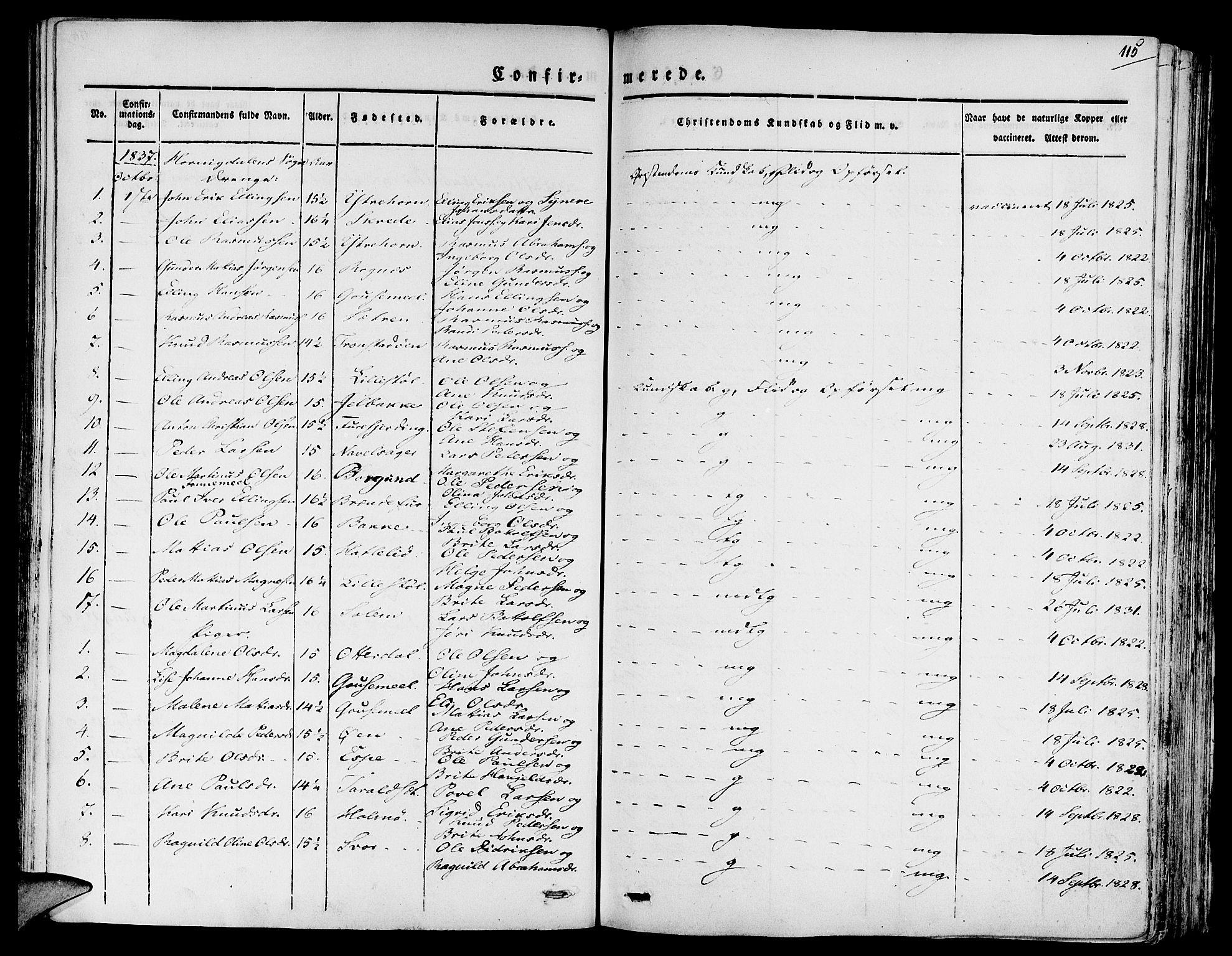 SAB, Eid Sokneprestembete, H/Haa: Ministerialbok nr. A 6, 1831-1843, s. 115