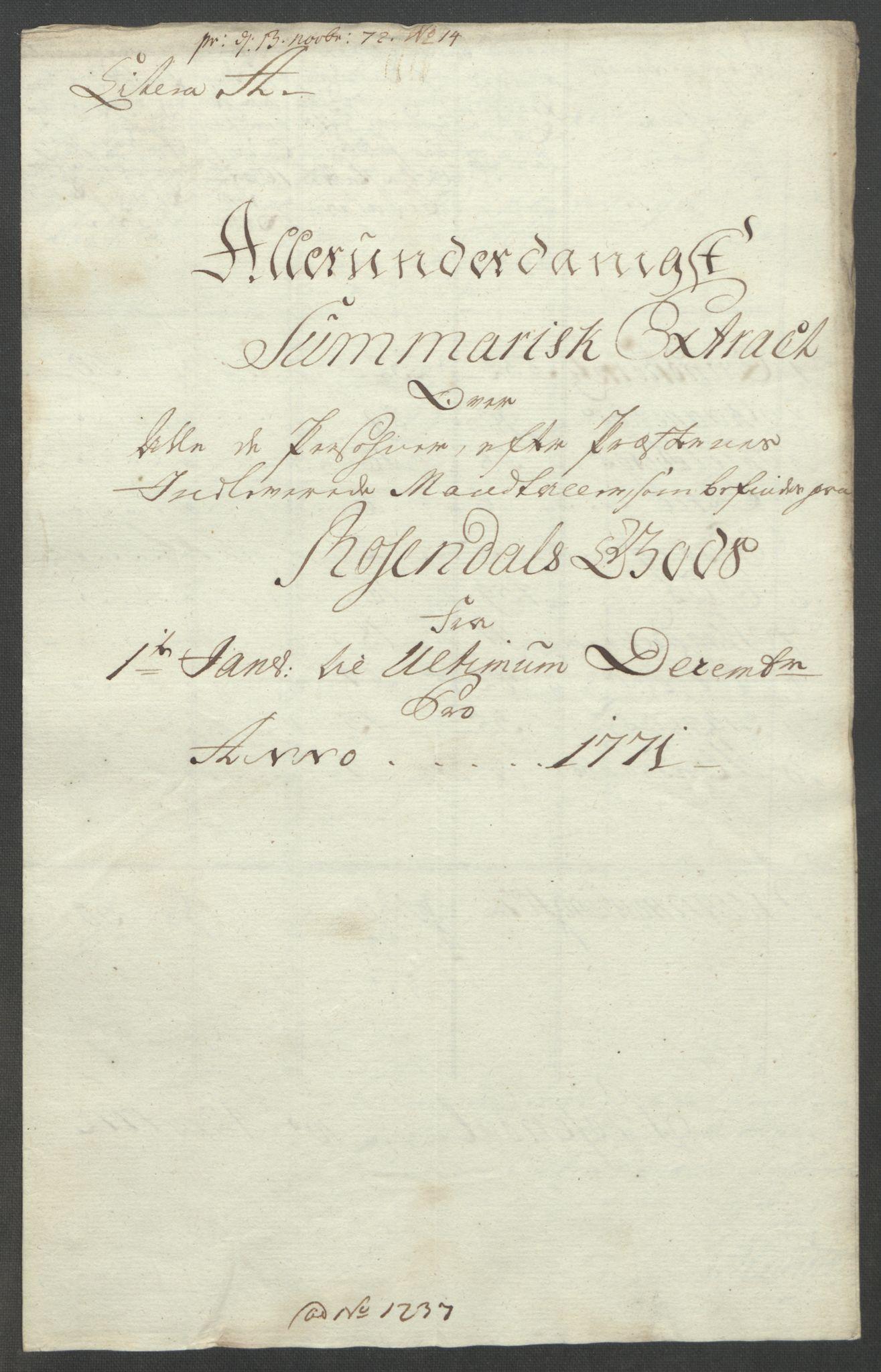 RA, Rentekammeret inntil 1814, Reviderte regnskaper, Fogderegnskap, R49/L3157: Ekstraskatten Rosendal Baroni, 1762-1772, s. 329