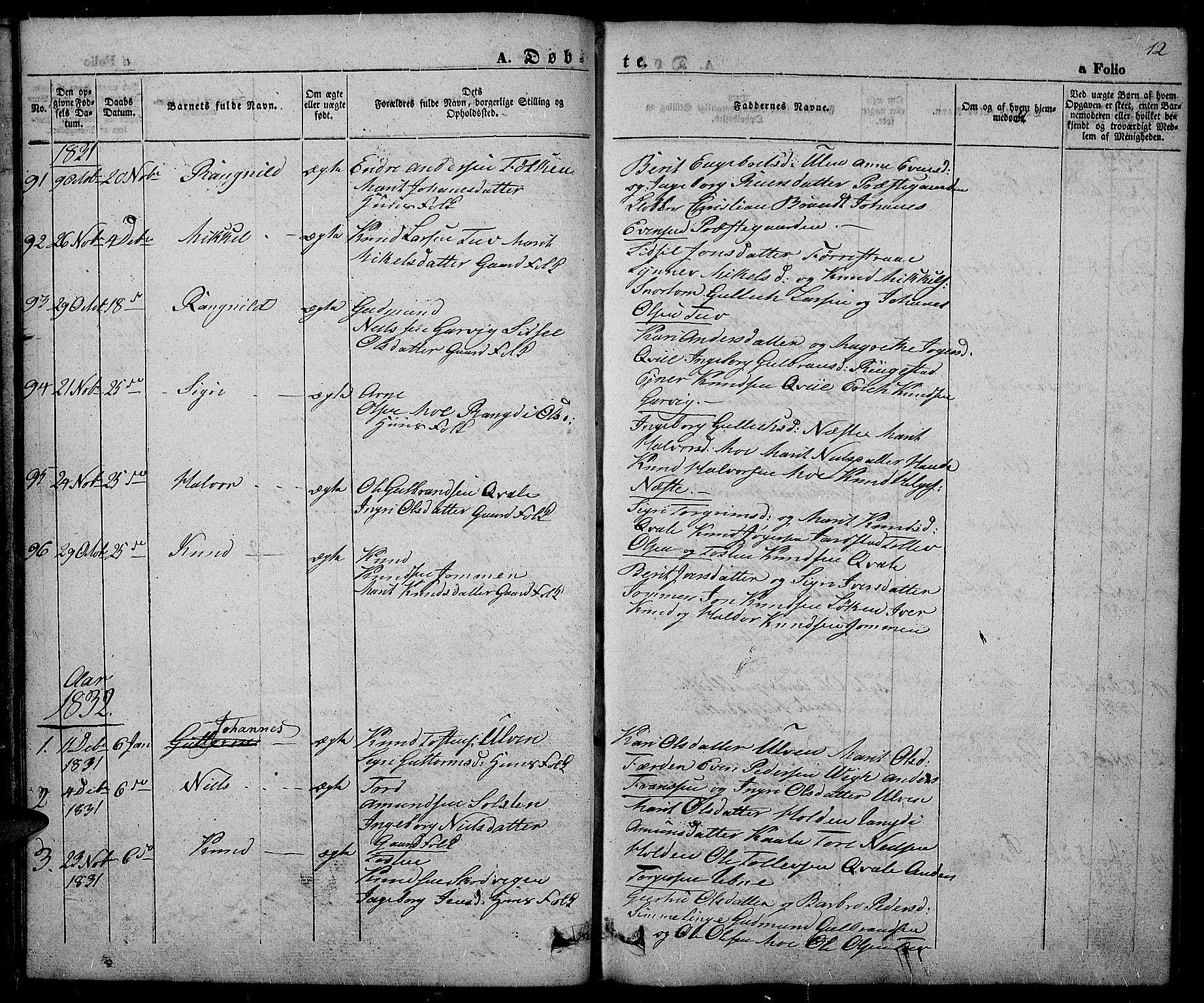 SAH, Slidre prestekontor, Ministerialbok nr. 3, 1831-1843, s. 12