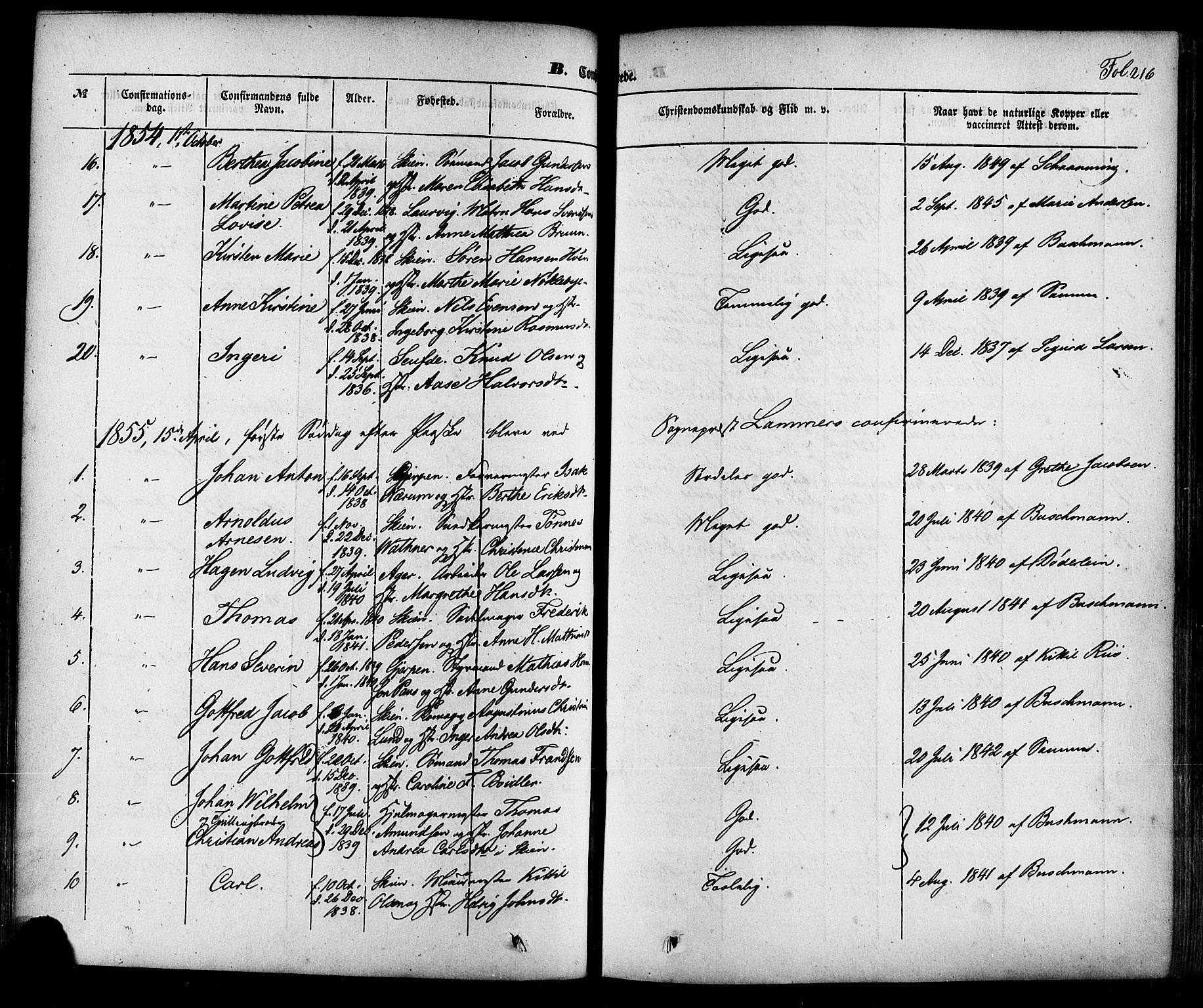 SAKO, Skien kirkebøker, F/Fa/L0006a: Ministerialbok nr. 6A, 1843-1856, s. 216