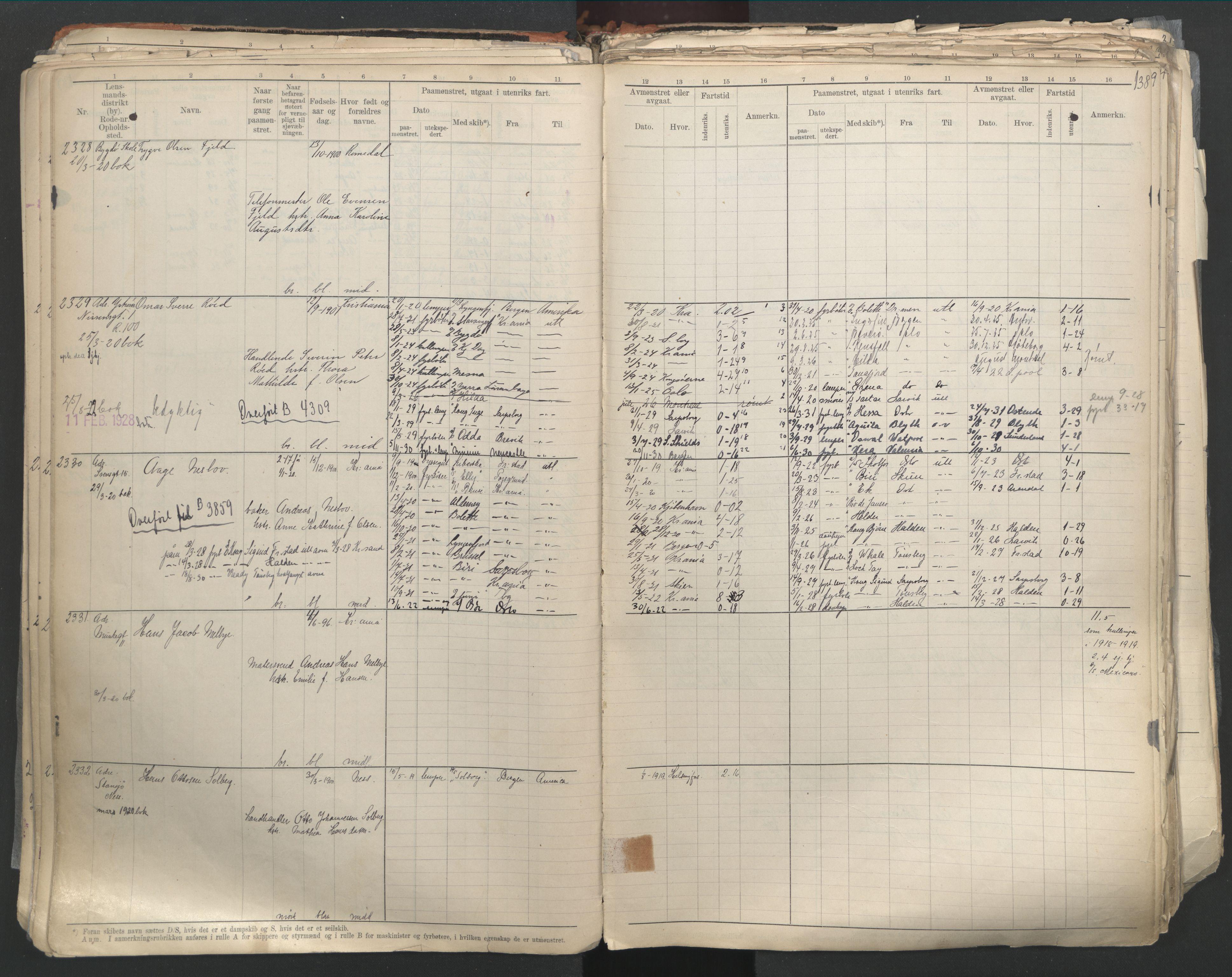 SAO, Oslo sjømannskontor, F/Fd/L0003: B-rulle, 1916, s. 137b-138a
