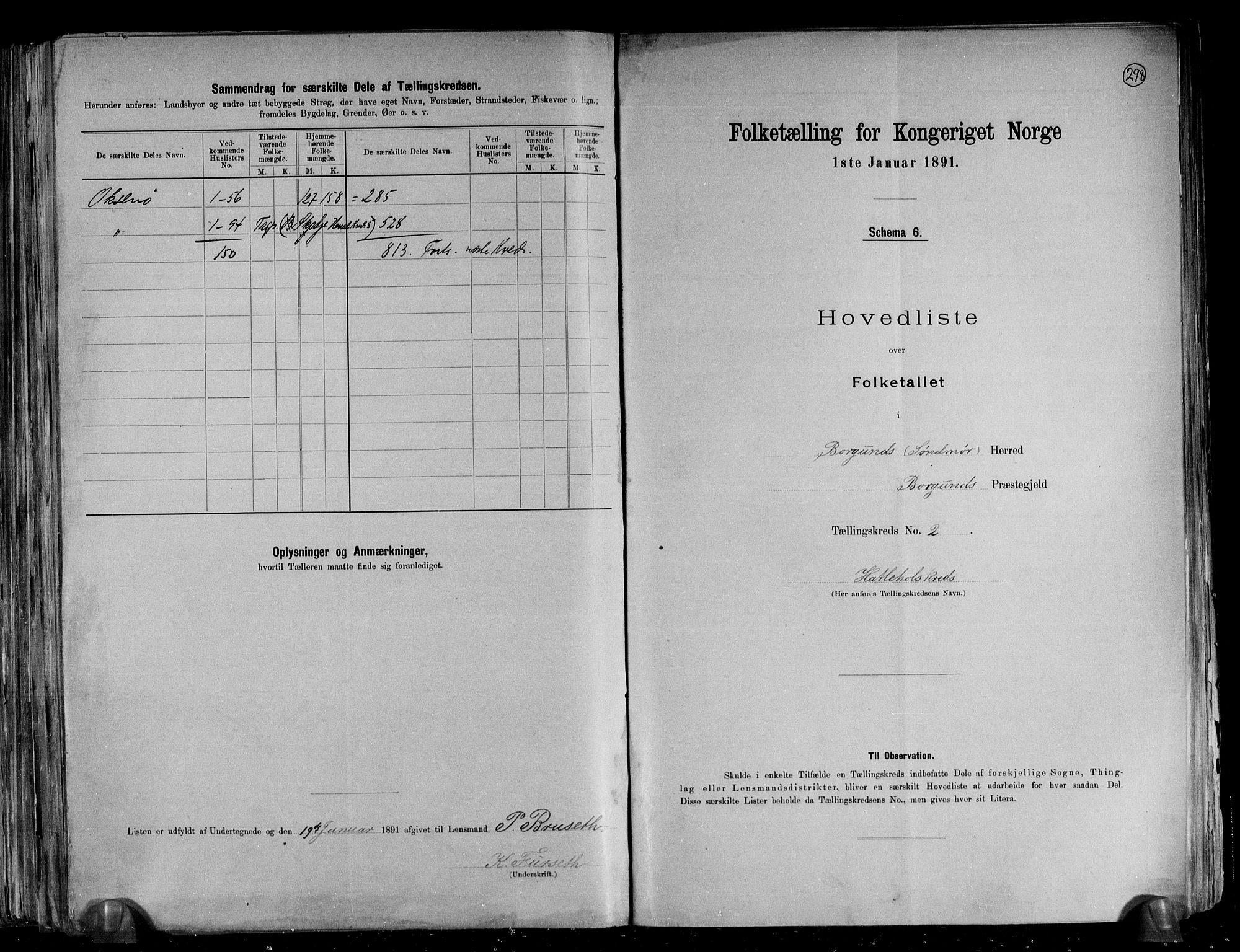 RA, Folketelling 1891 for 1531 Borgund herred, 1891, s. 9