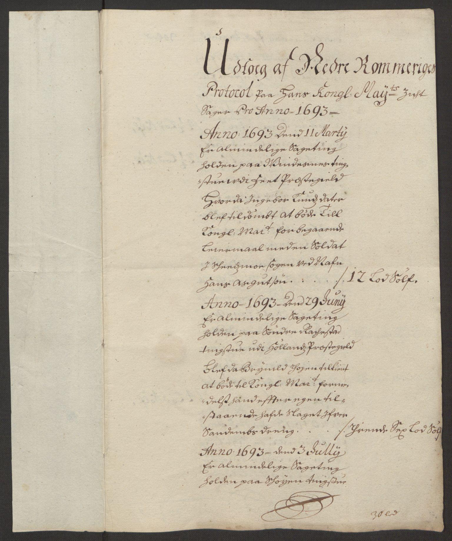 RA, Rentekammeret inntil 1814, Reviderte regnskaper, Fogderegnskap, R11/L0578: Fogderegnskap Nedre Romerike, 1693, s. 38