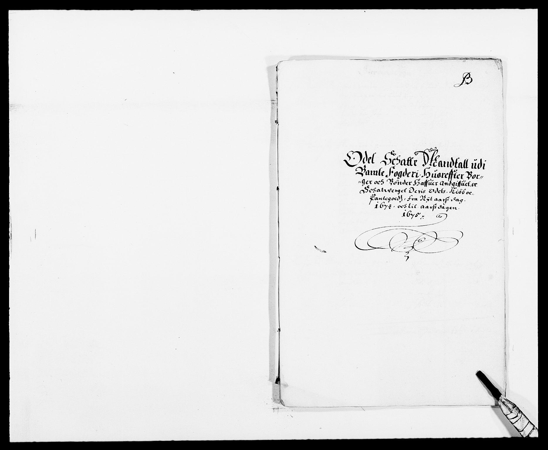 RA, Rentekammeret inntil 1814, Reviderte regnskaper, Fogderegnskap, R34/L2042: Fogderegnskap Bamble, 1673-1675, s. 173