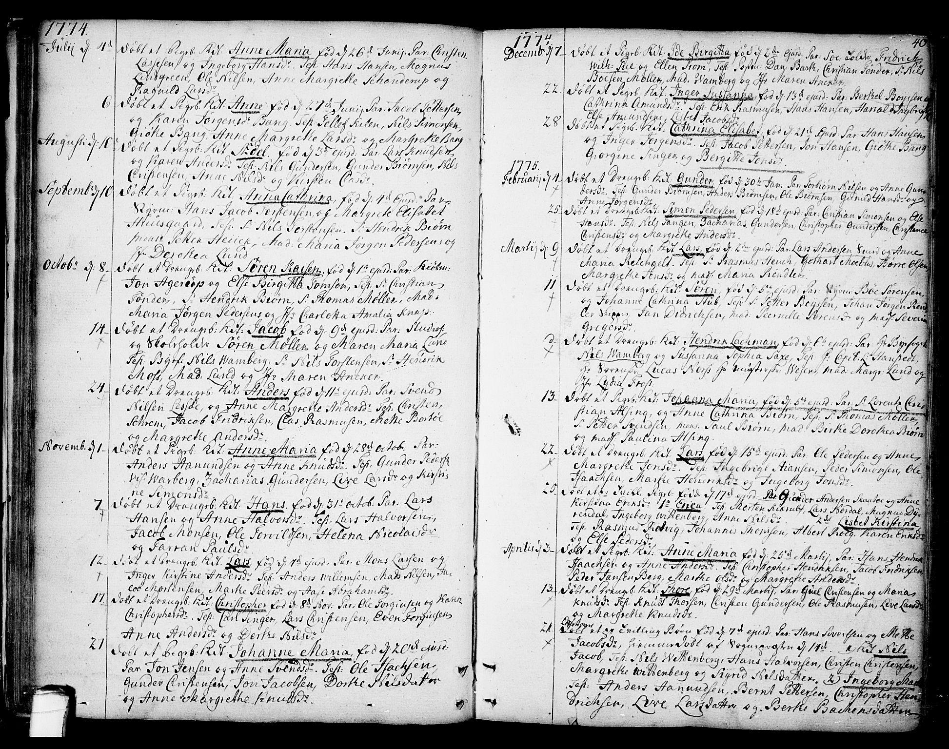 SAKO, Kragerø kirkebøker, F/Fa/L0002: Ministerialbok nr. 2, 1767-1802, s. 40