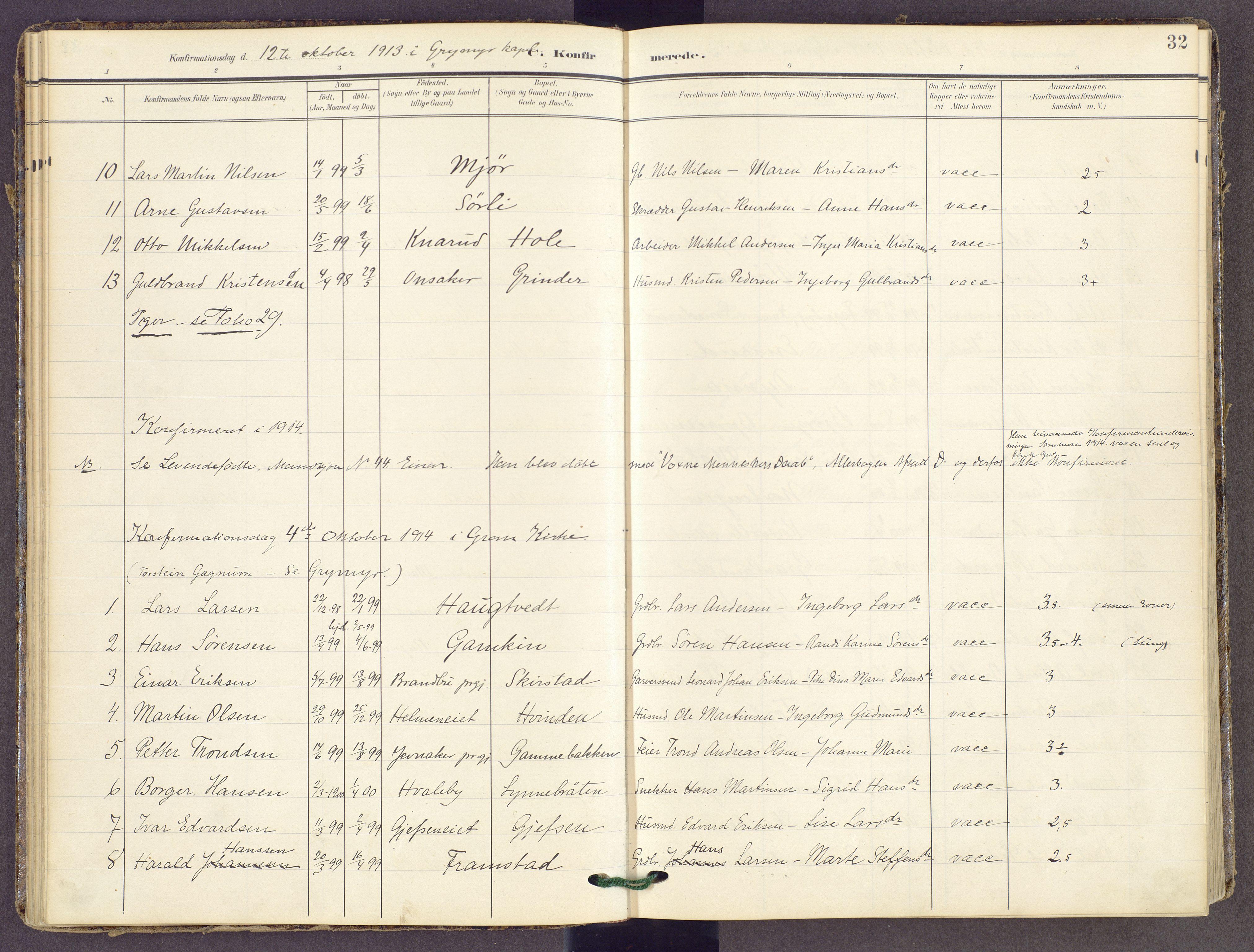 SAH, Gran prestekontor, Ministerialbok nr. 22, 1908-1918, s. 32