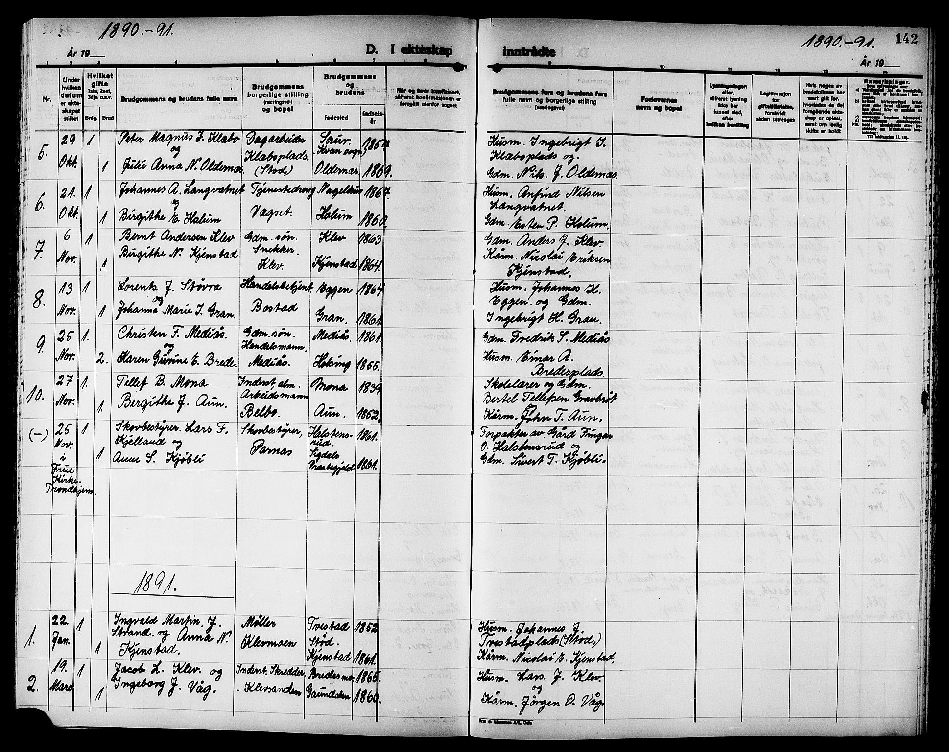 SAT, Ministerialprotokoller, klokkerbøker og fødselsregistre - Nord-Trøndelag, 749/L0487: Ministerialbok nr. 749D03, 1887-1902, s. 142