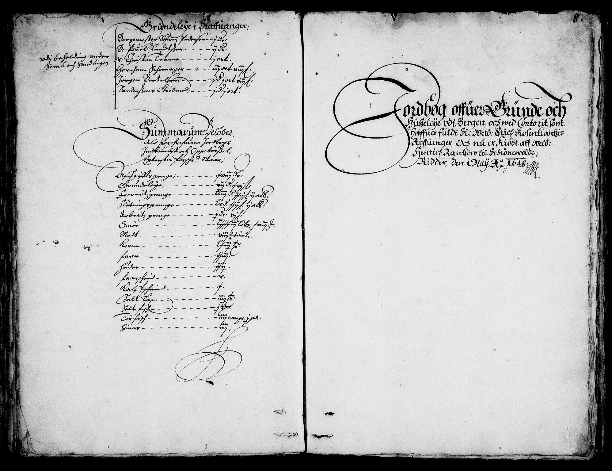 RA, Rentekammeret inntil 1814, Realistisk ordnet avdeling, On/L0001: Statens gods, 1651, s. 1007b-1008a