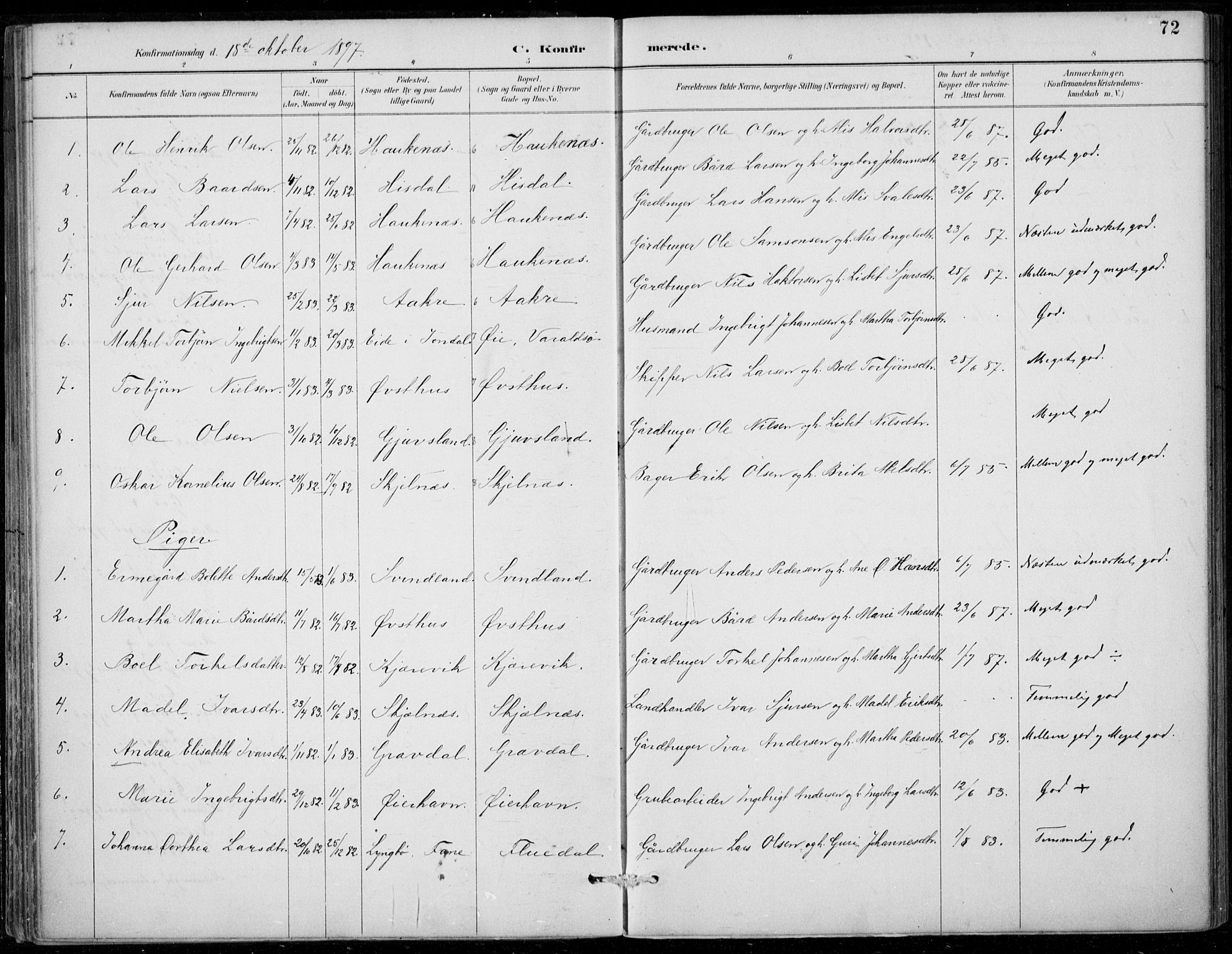 SAB, Strandebarm sokneprestembete, H/Haa: Ministerialbok nr. D  1, 1886-1912, s. 72