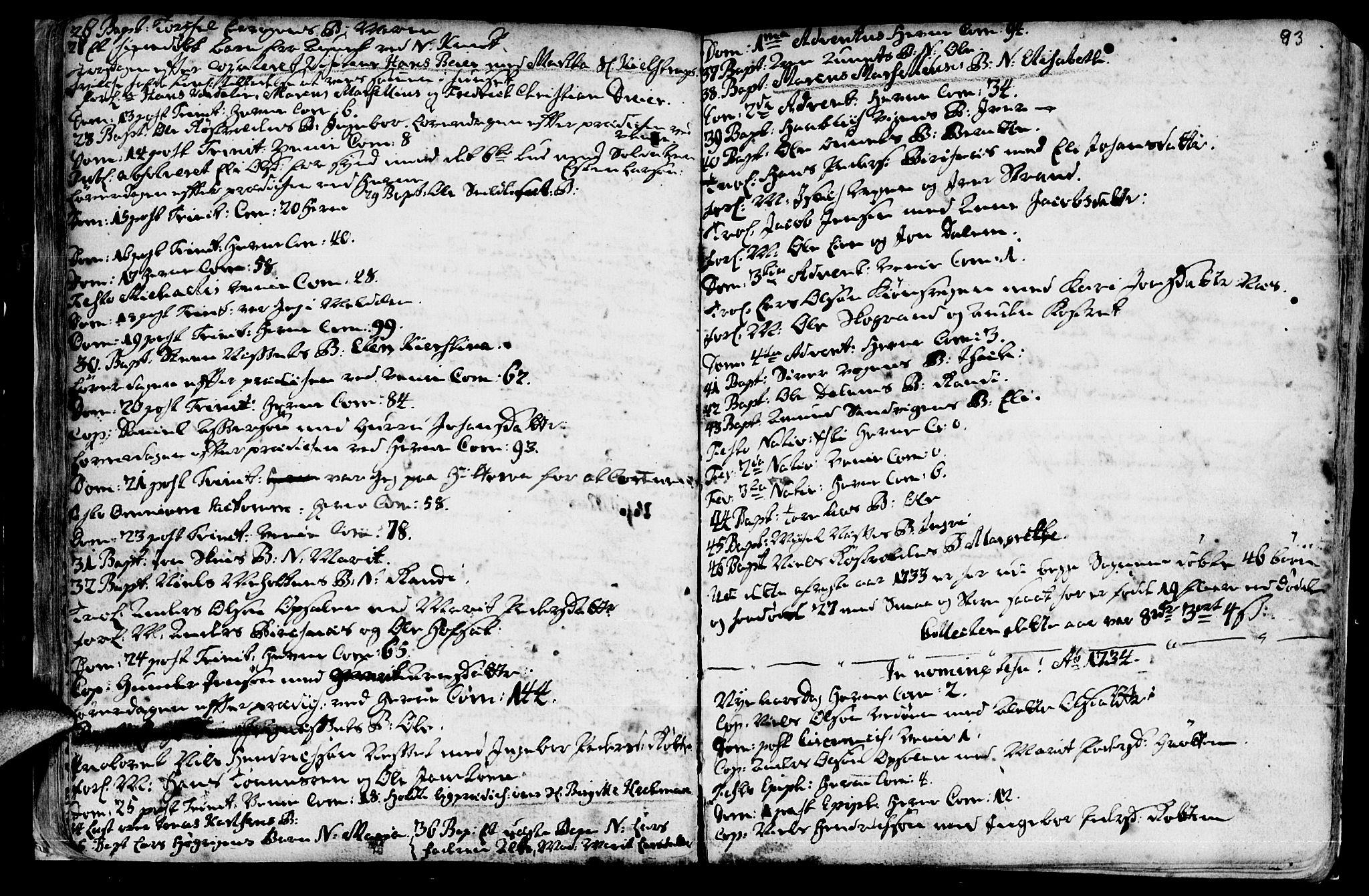 SAT, Ministerialprotokoller, klokkerbøker og fødselsregistre - Sør-Trøndelag, 630/L0488: Ministerialbok nr. 630A01, 1717-1756, s. 92-93