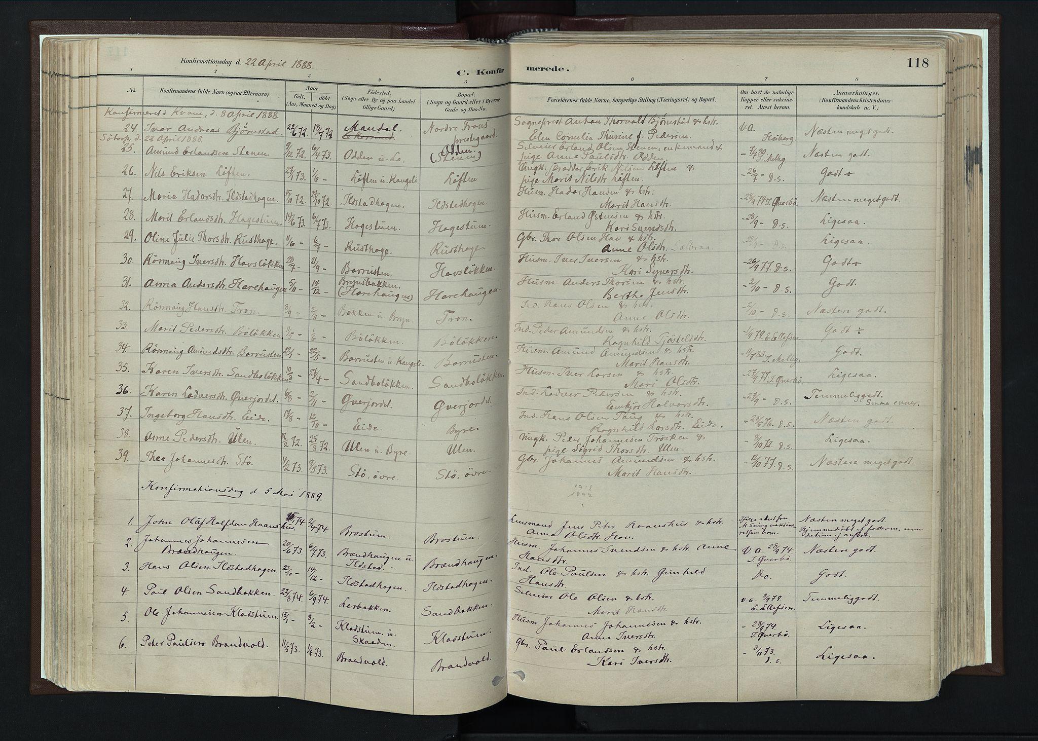 SAH, Nord-Fron prestekontor, Ministerialbok nr. 4, 1884-1914, s. 118
