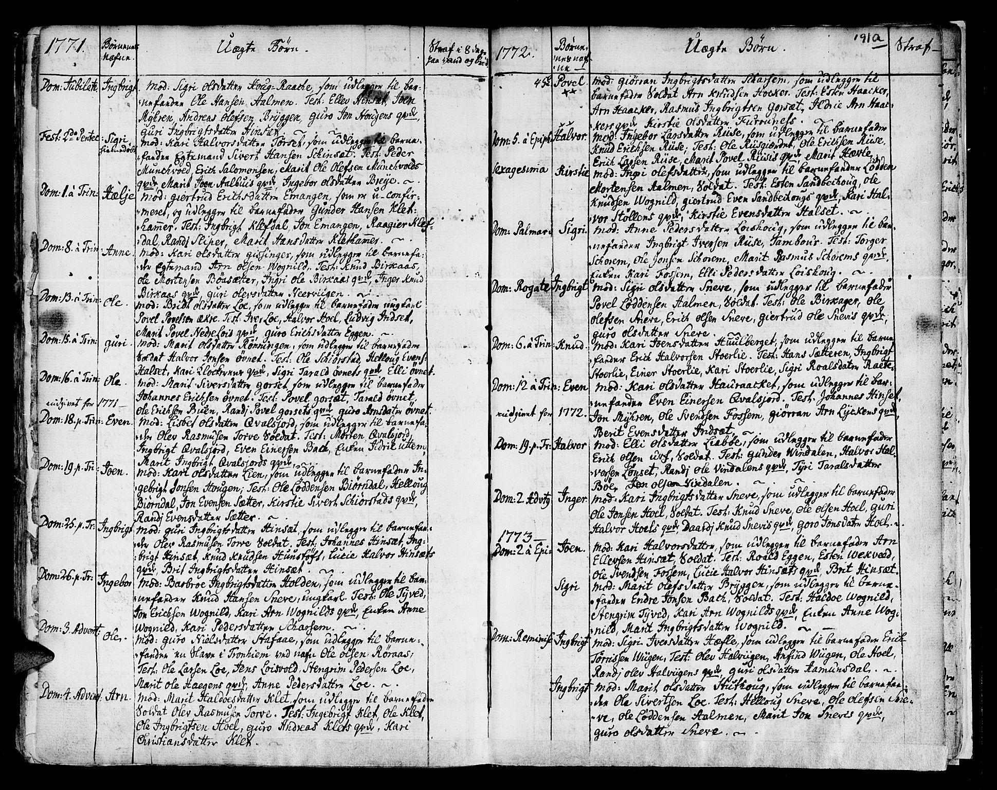 SAT, Ministerialprotokoller, klokkerbøker og fødselsregistre - Sør-Trøndelag, 678/L0891: Ministerialbok nr. 678A01, 1739-1780, s. 191b