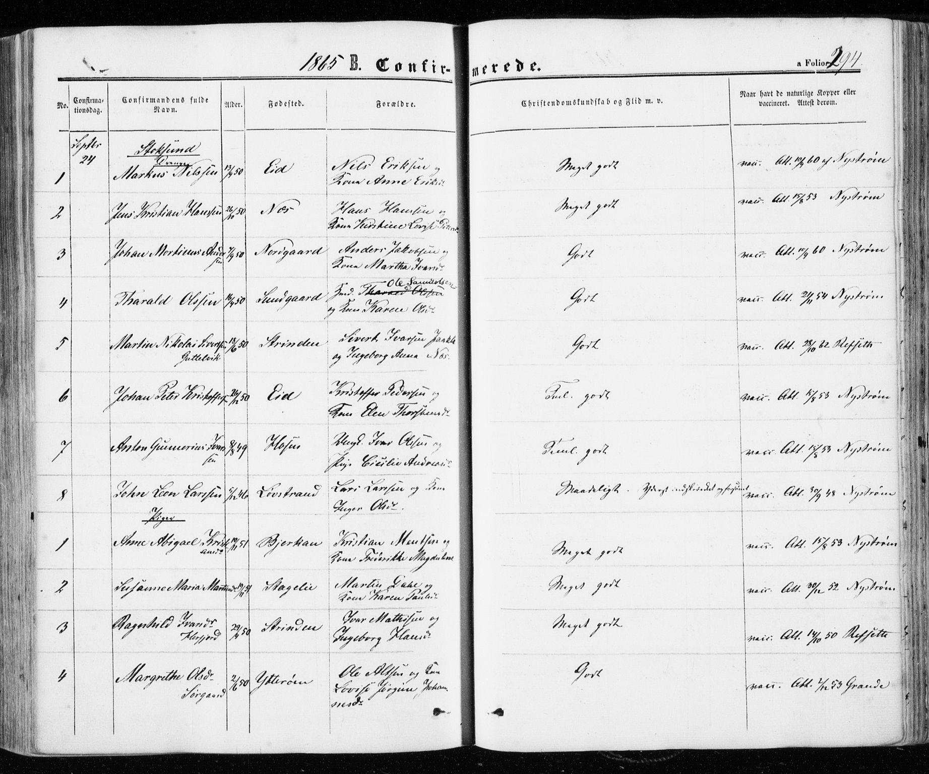 SAT, Ministerialprotokoller, klokkerbøker og fødselsregistre - Sør-Trøndelag, 657/L0705: Ministerialbok nr. 657A06, 1858-1867, s. 294