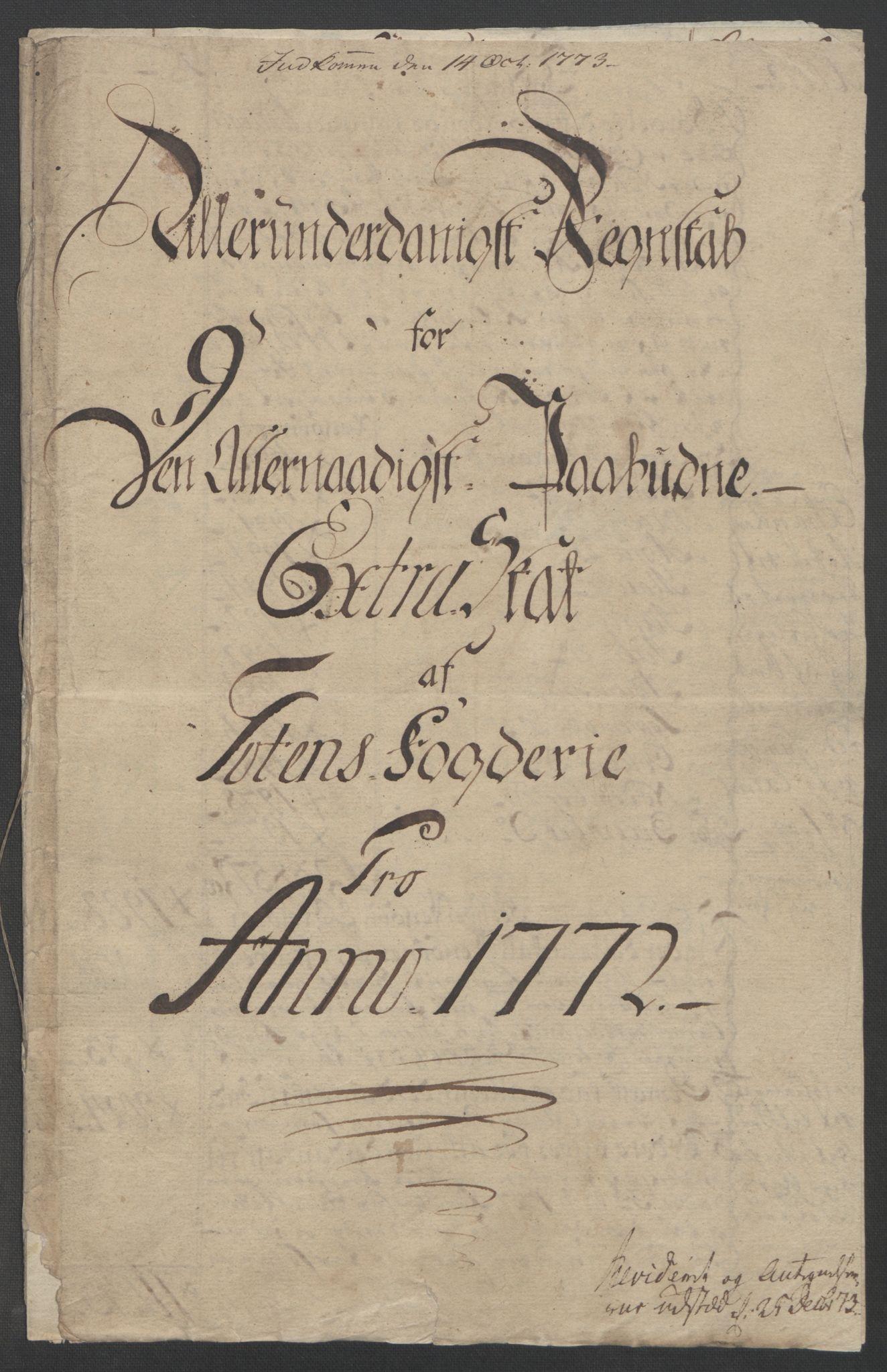 RA, Rentekammeret inntil 1814, Reviderte regnskaper, Fogderegnskap, R19/L1399: Fogderegnskap Toten, Hadeland og Vardal, 1762-1783, s. 237